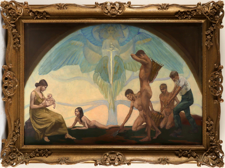 ‡Margaret Maitland Howard (1898 -1983) Allegory of life Signed MAITLAND HOWARD (lower right) Oil - Image 2 of 3