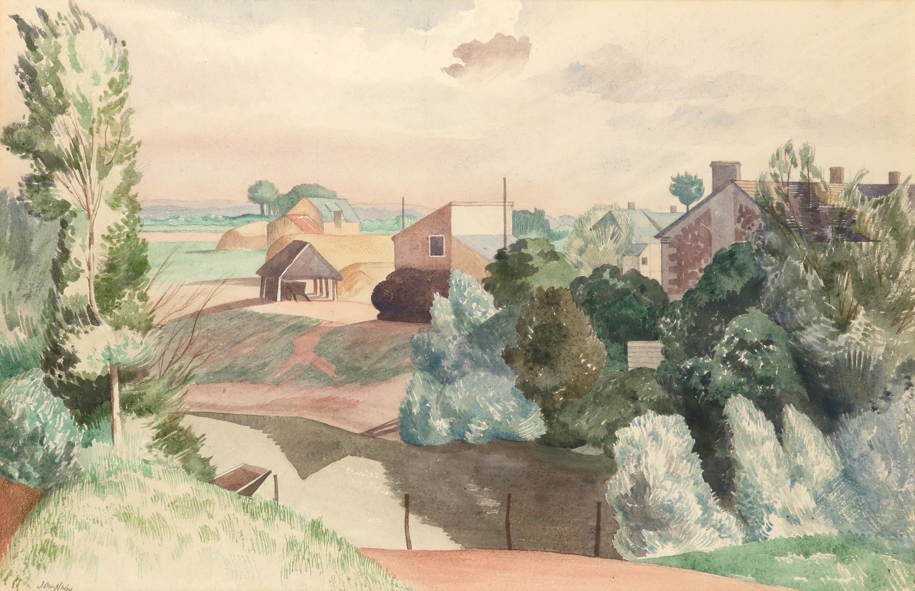 ‡John Nash CBE, RA (1893-1977) Farm in the Loire Valley Signed John Nash (lower left) Watercolour