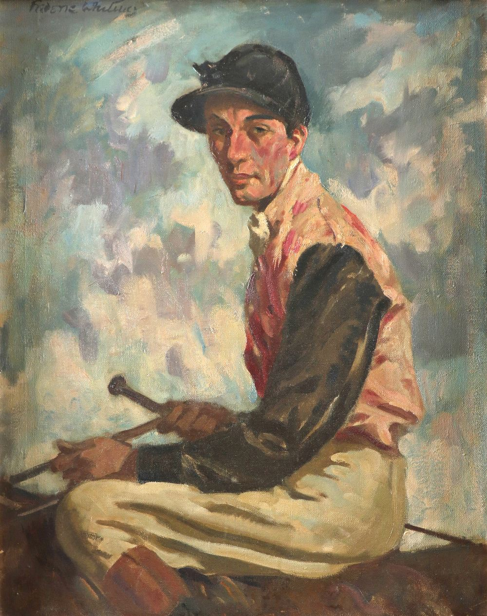 ‡Frederic Whiting (1874-1962) Portrait of a jockey, traditionally identified as Fred Archer