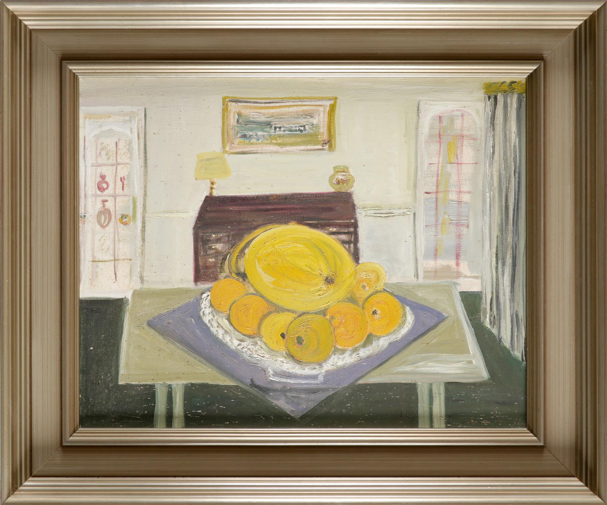 ‡Muriel Pemberton RWS (1909-1993) Still life with fruit on a kitchen table Oil on canvas 39 x 49.4cm - Image 2 of 3