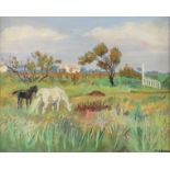 ‡Yves Brayer (French 1907-1990) Paysage de Camargue aux Deux Chevaux Signed YVES BRAYER (lower