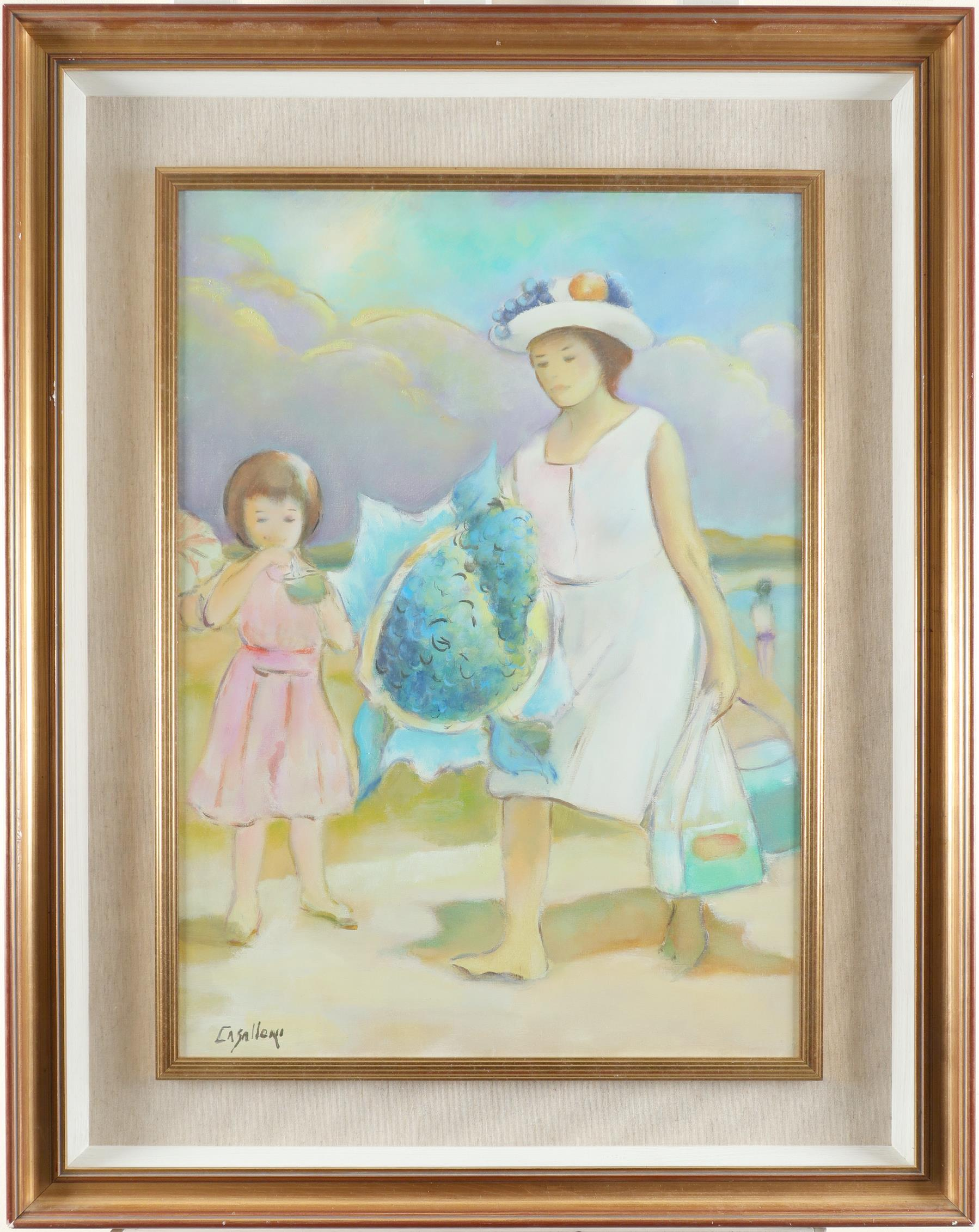 Giuseppe Casalloni (Italian b. 1944) Mother and daughter on the beach Signed CASALLONI (lower - Image 2 of 3