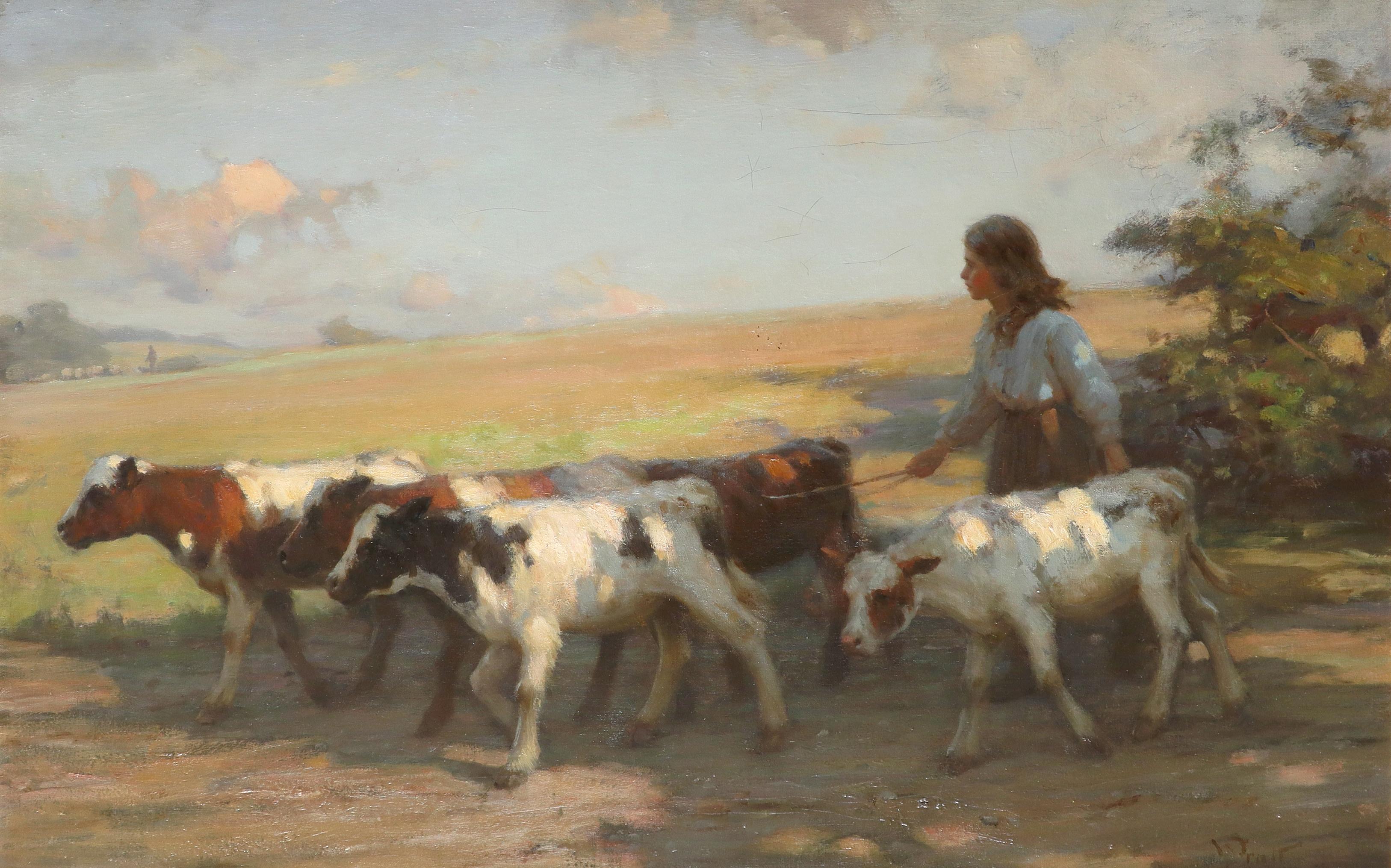 William Pratt (Scottish 1855-1936) A girl driving cattle Signed WPratt (WP in ligature, lower right)