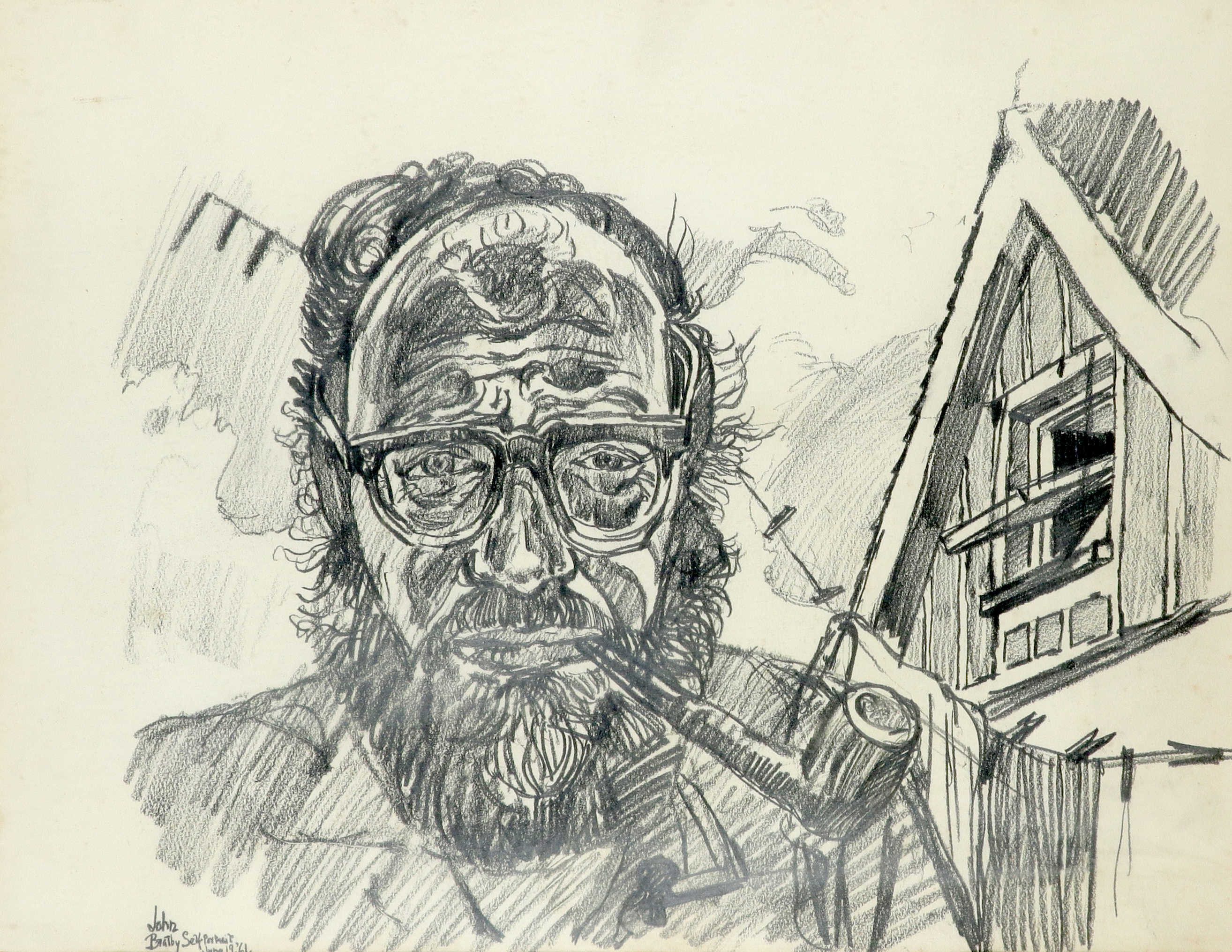 ‡John Bratby RA (1928-1992) Self portrait whilst smoking a pipe Signed, dated and inscribed John/