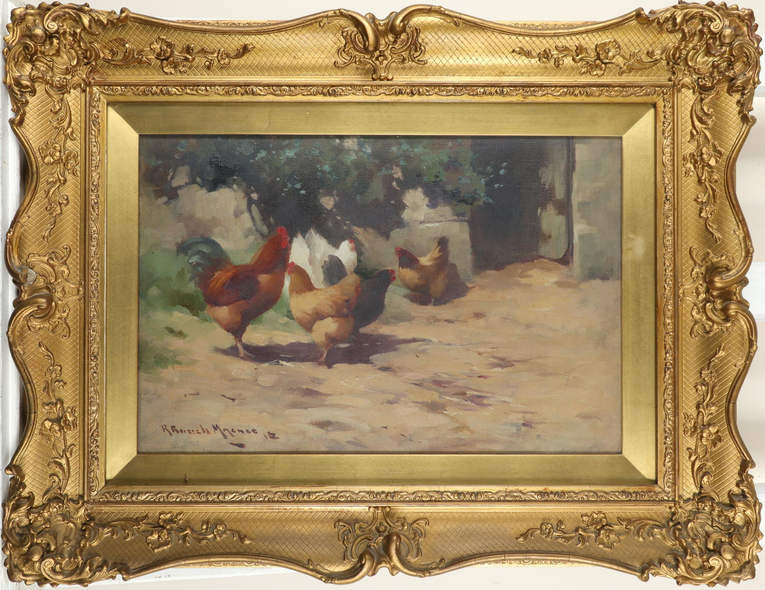 ‡Robert Russell Macnee (Scottish 1880-1952) The poultry yard Signed and dated R Russell Macnee 12 ( - Image 2 of 3