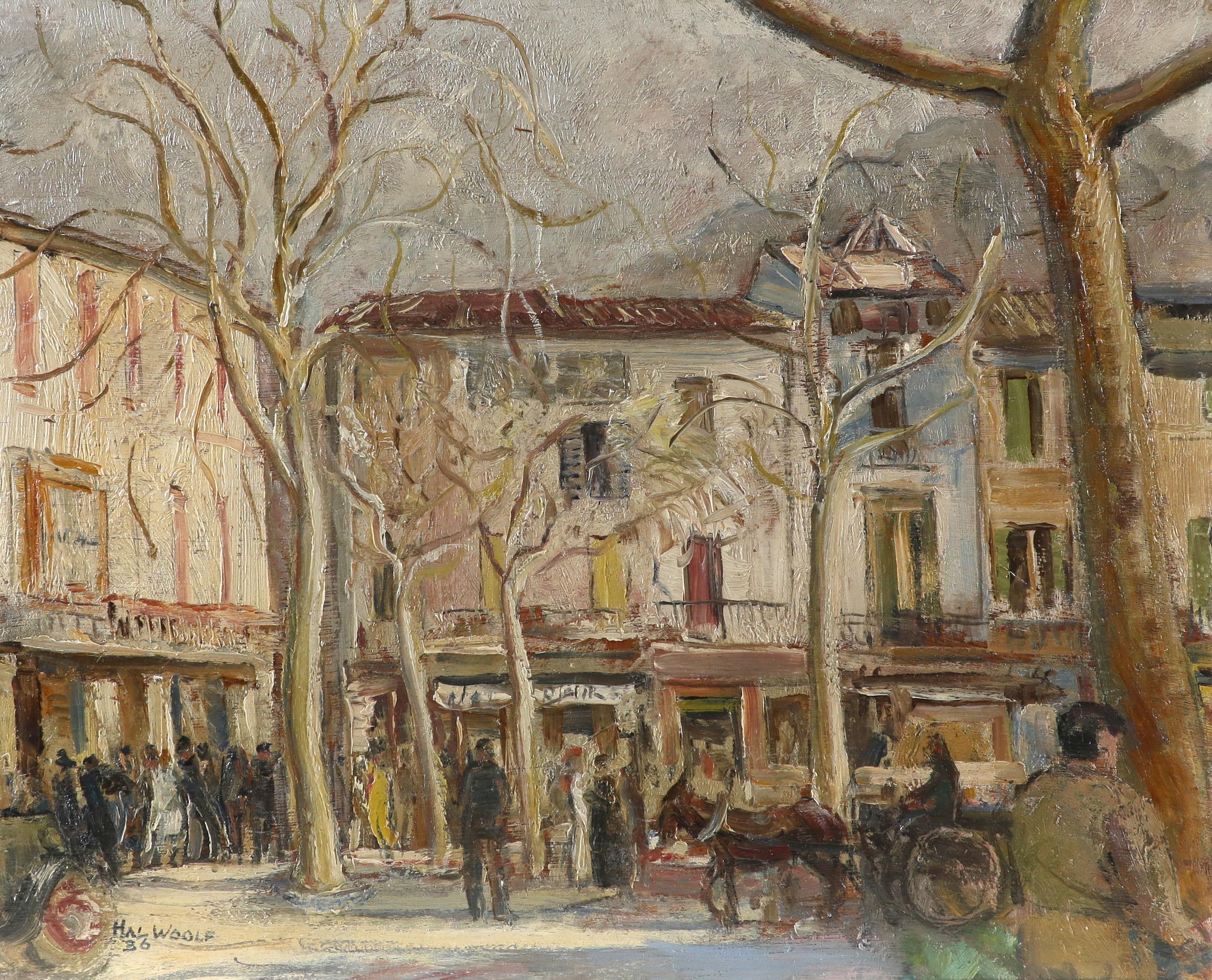 ‡Hal Woolf (1902-1962) Market Scene, Sóller, Mallorca Signed HAL WOOLF/36 (lower left) Oil on