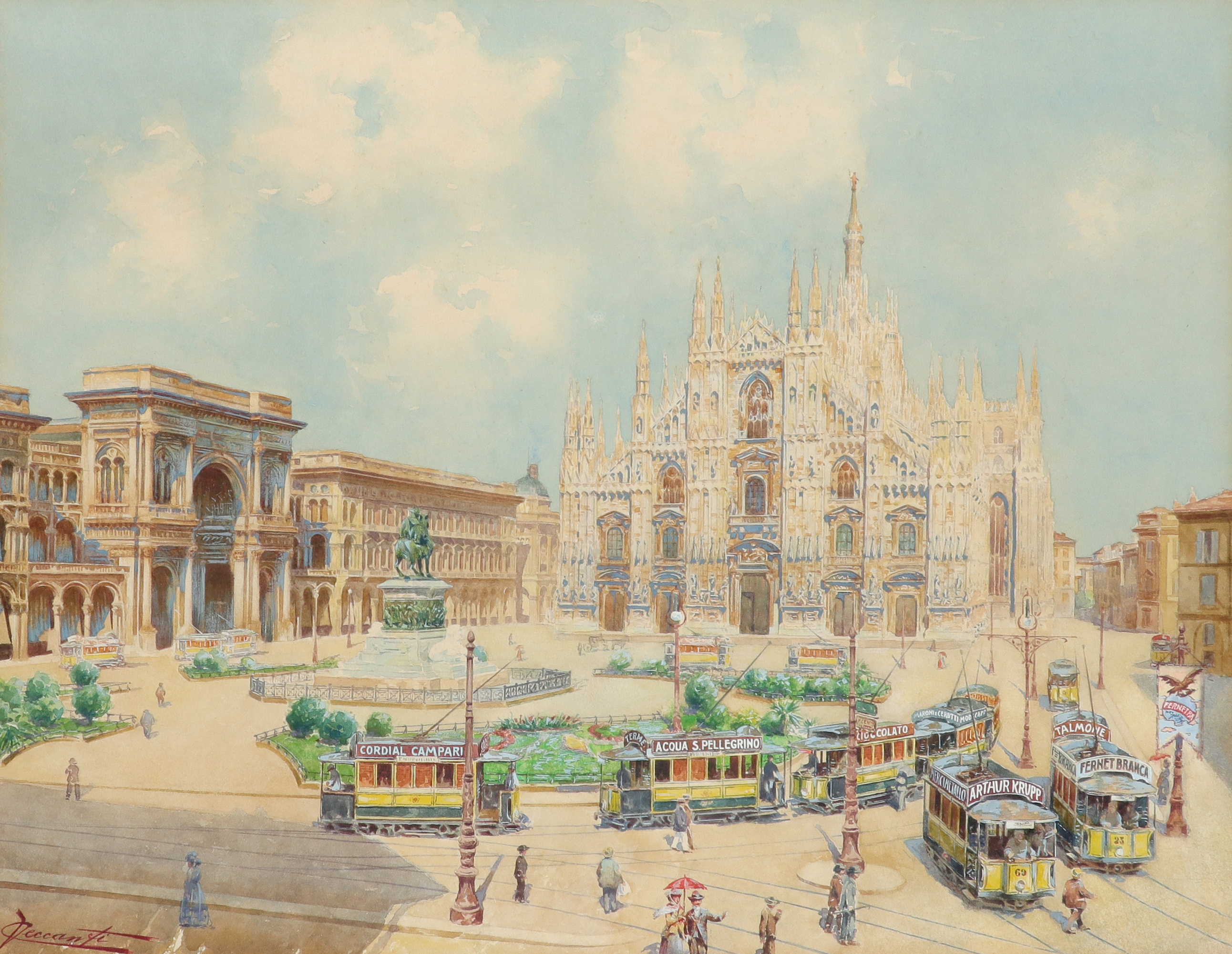 C. Veccanti (Italian Early 20th Century) A view of Milan Cathedral Signed CVeccanti (CV in ligature,