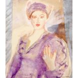 ‡Sonia Lawson RA, RWS, RWA (b.1934) Portrait of a lady in a purple dress and turban Signed
