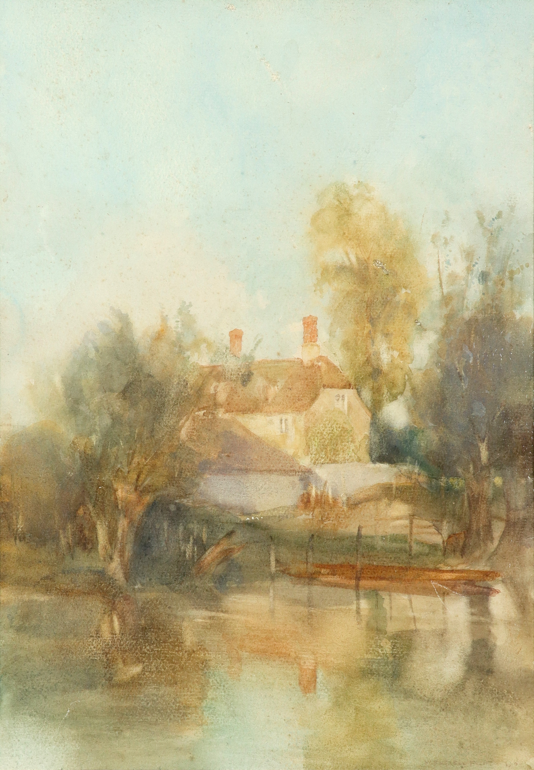 ‡Sir William Russell Flint RA, ROI (Scottish 1880-1869) View of a house by the river Signed and
