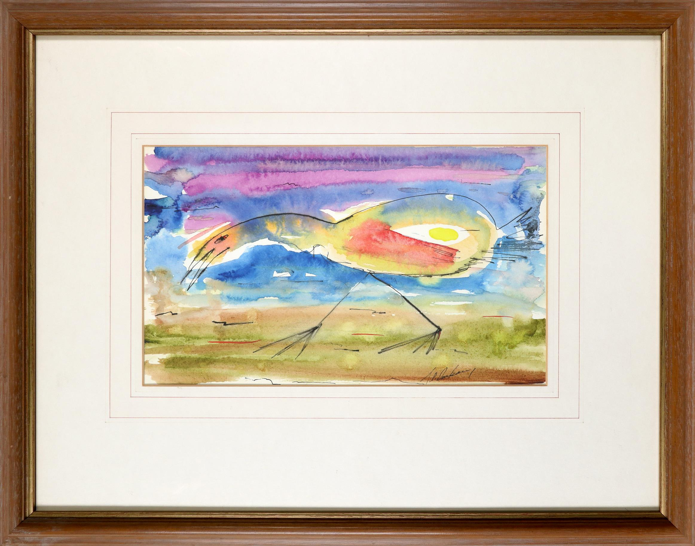 ‡J. P. Donleavy (Irish 1926-2017) Bird Signed J.P.Donleavy (lower right) Watercolour, pen and ink - Image 2 of 3