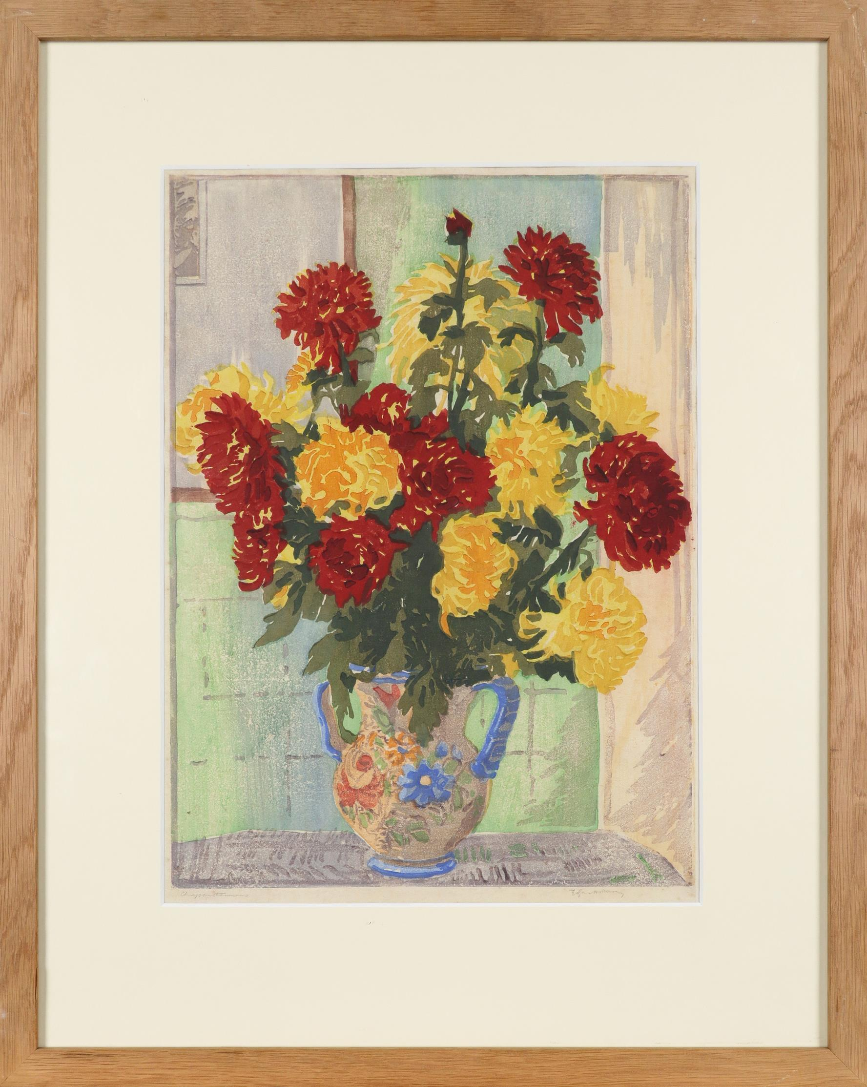 ‡Edgar Holloway (1914-2008) Still life with chrysanthemums Signed and inscribed Chrysanthemums Edgar - Image 2 of 3