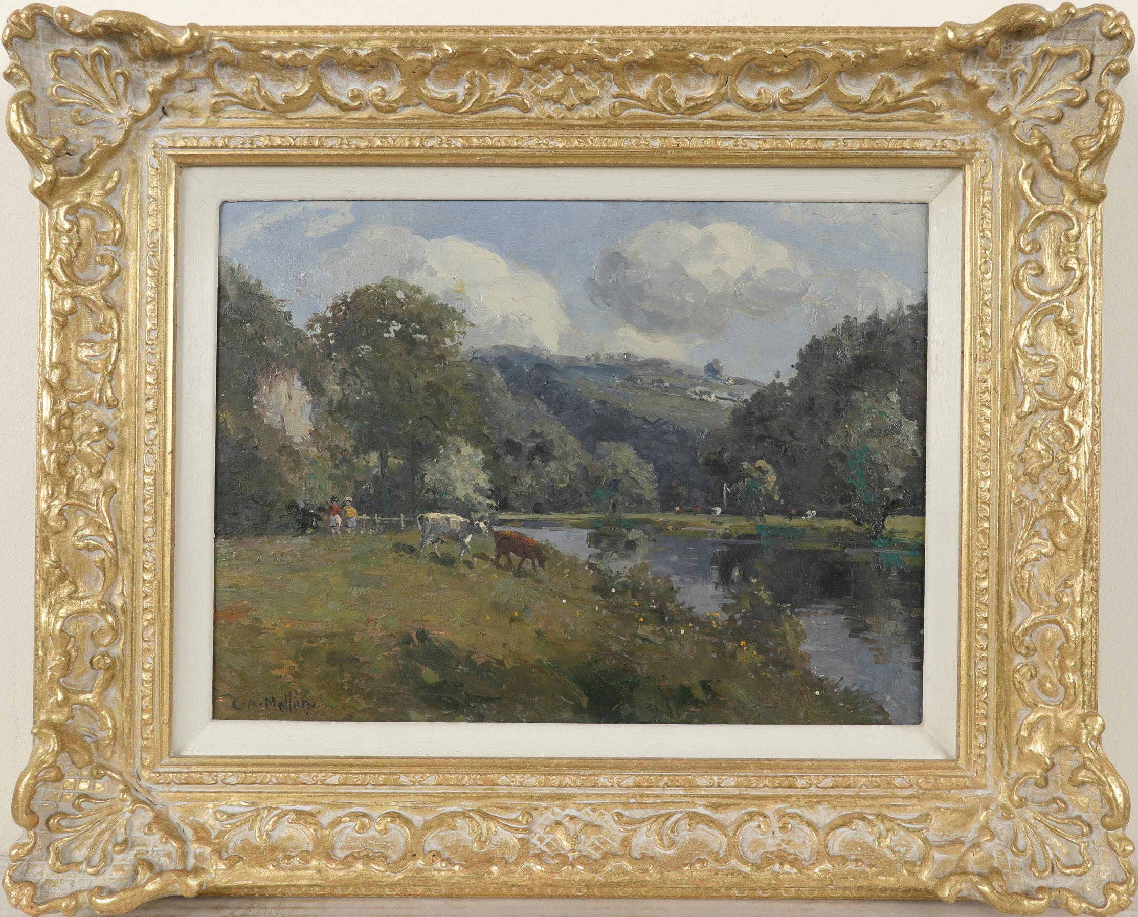 ‡Campbell Archibald Mellon (1876-1955) The River Wye Signed C.A.Mellon. (lower left) Oil on board - Image 2 of 3
