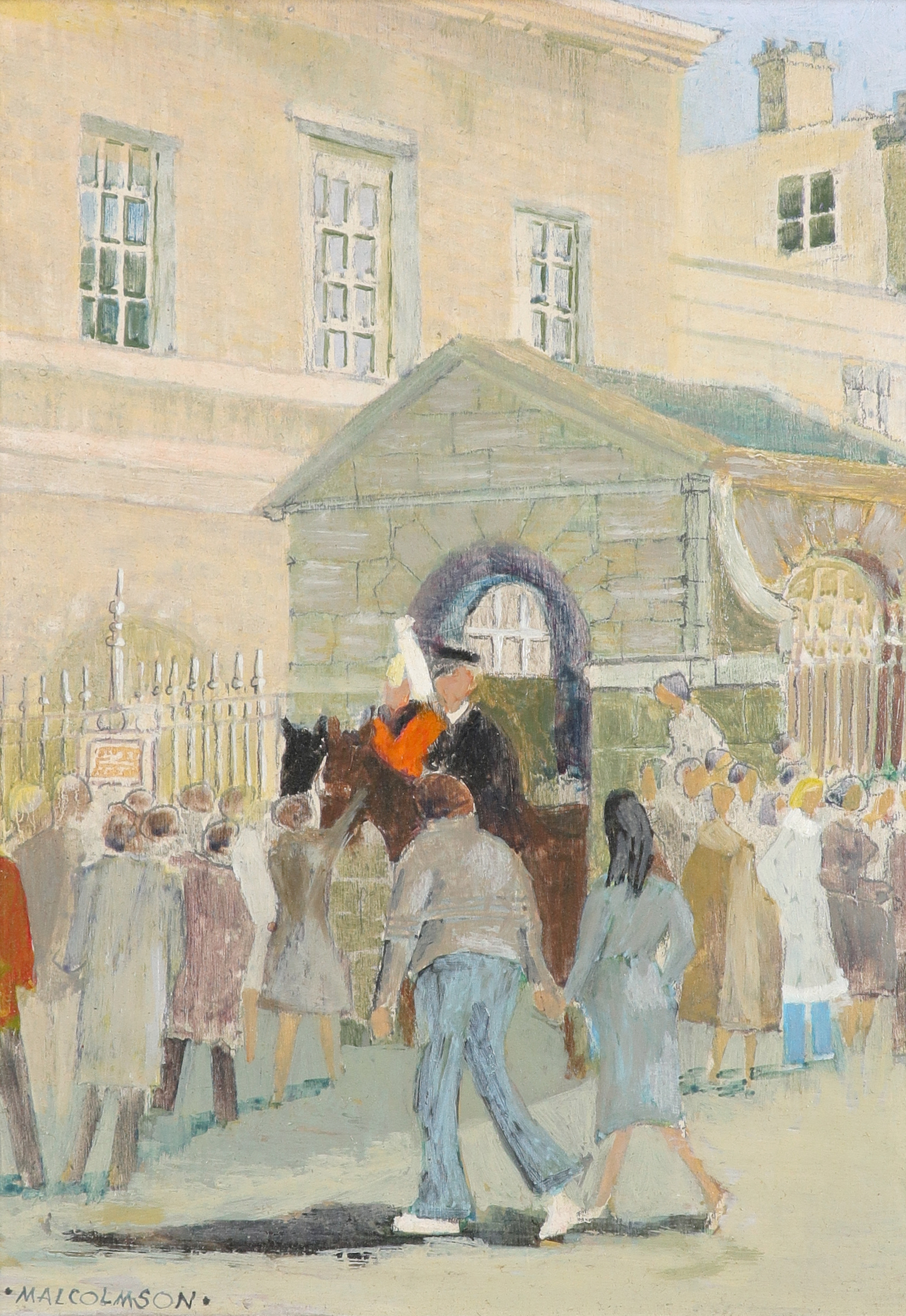‡Joe Malcolmson (Contemporary) The changing of the guard Signed MALCOLMSON (lower left) Oil on board