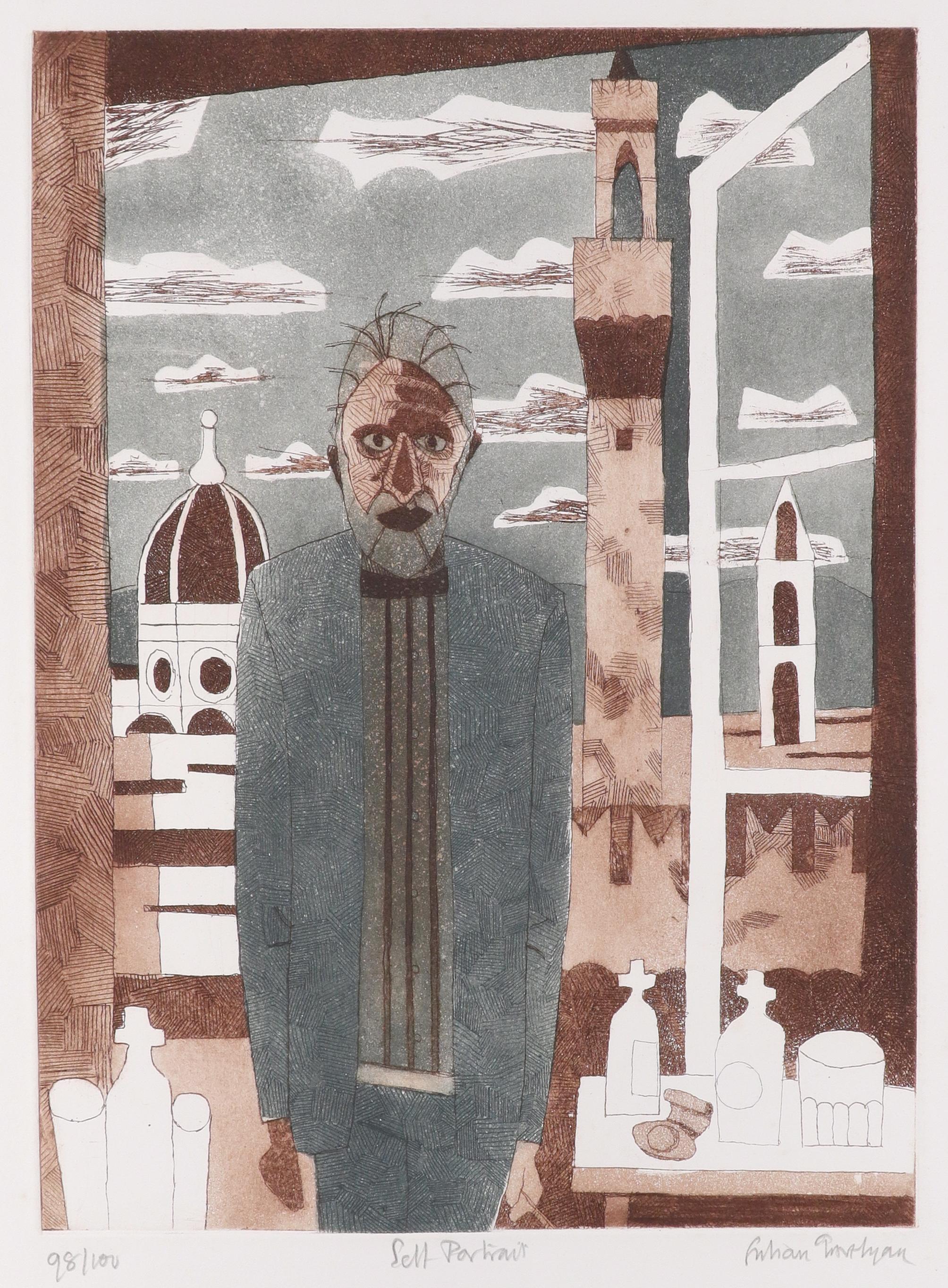 ‡Julian Trevelyan RA (1910-1988) Self-Portrait Signed, numbered and inscribed 98/100 Self-Portrait