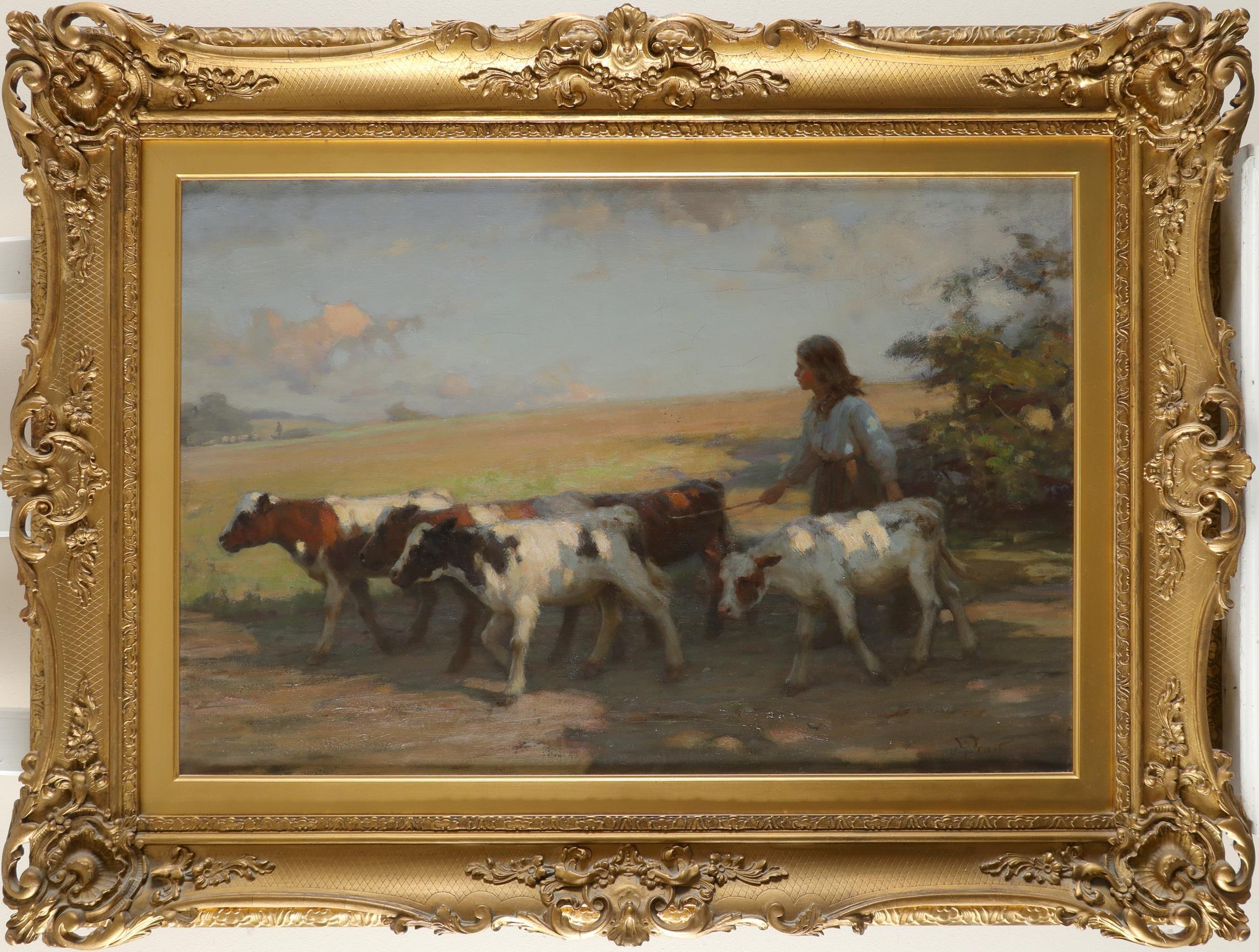 William Pratt (Scottish 1855-1936) A girl driving cattle Signed WPratt (WP in ligature, lower right) - Image 2 of 3