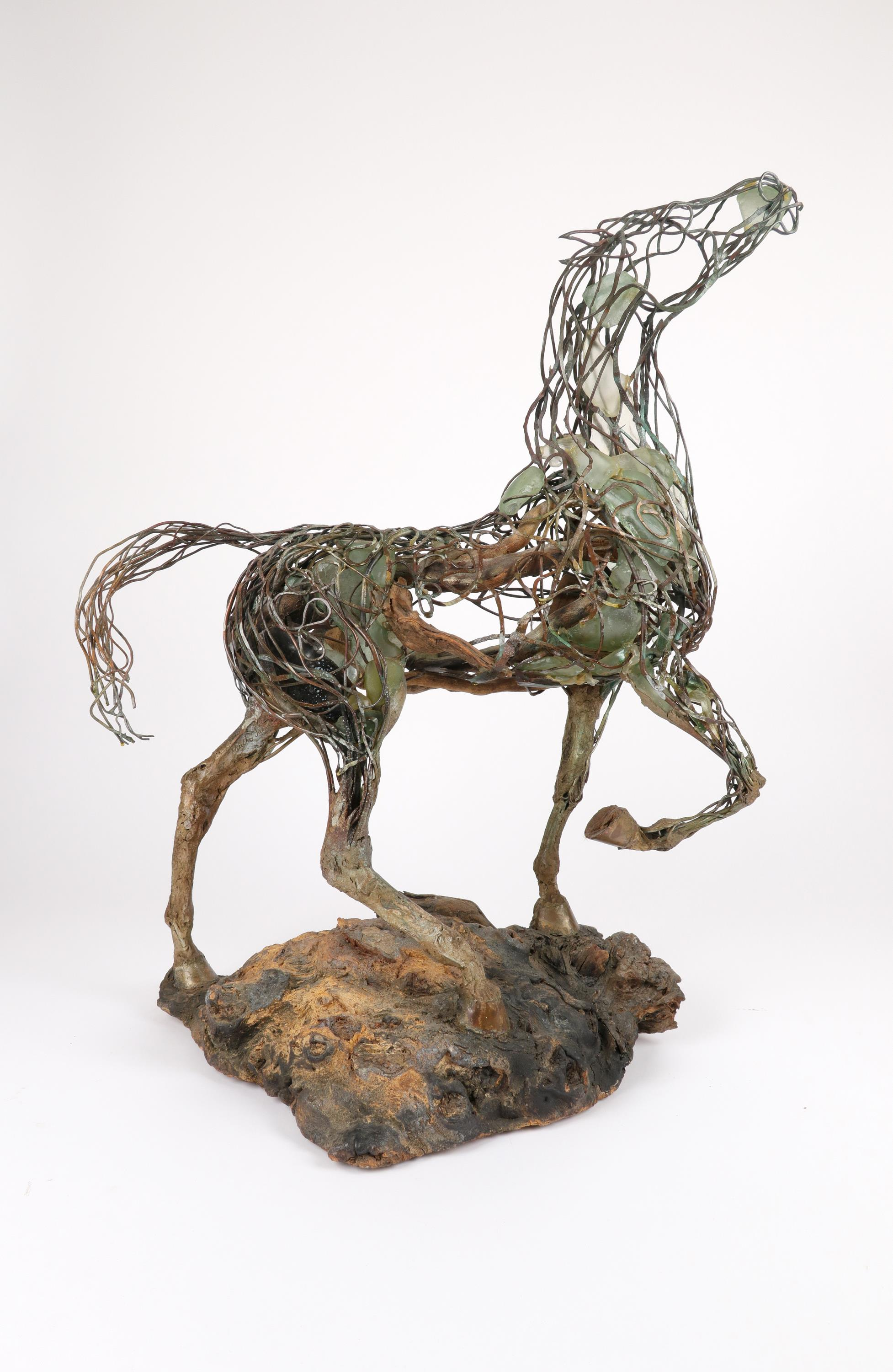 ‡Heather Jansch (b.1948) Neptune Signed Heather Jansch (to inside of back left leg) Copper wire, - Image 2 of 4