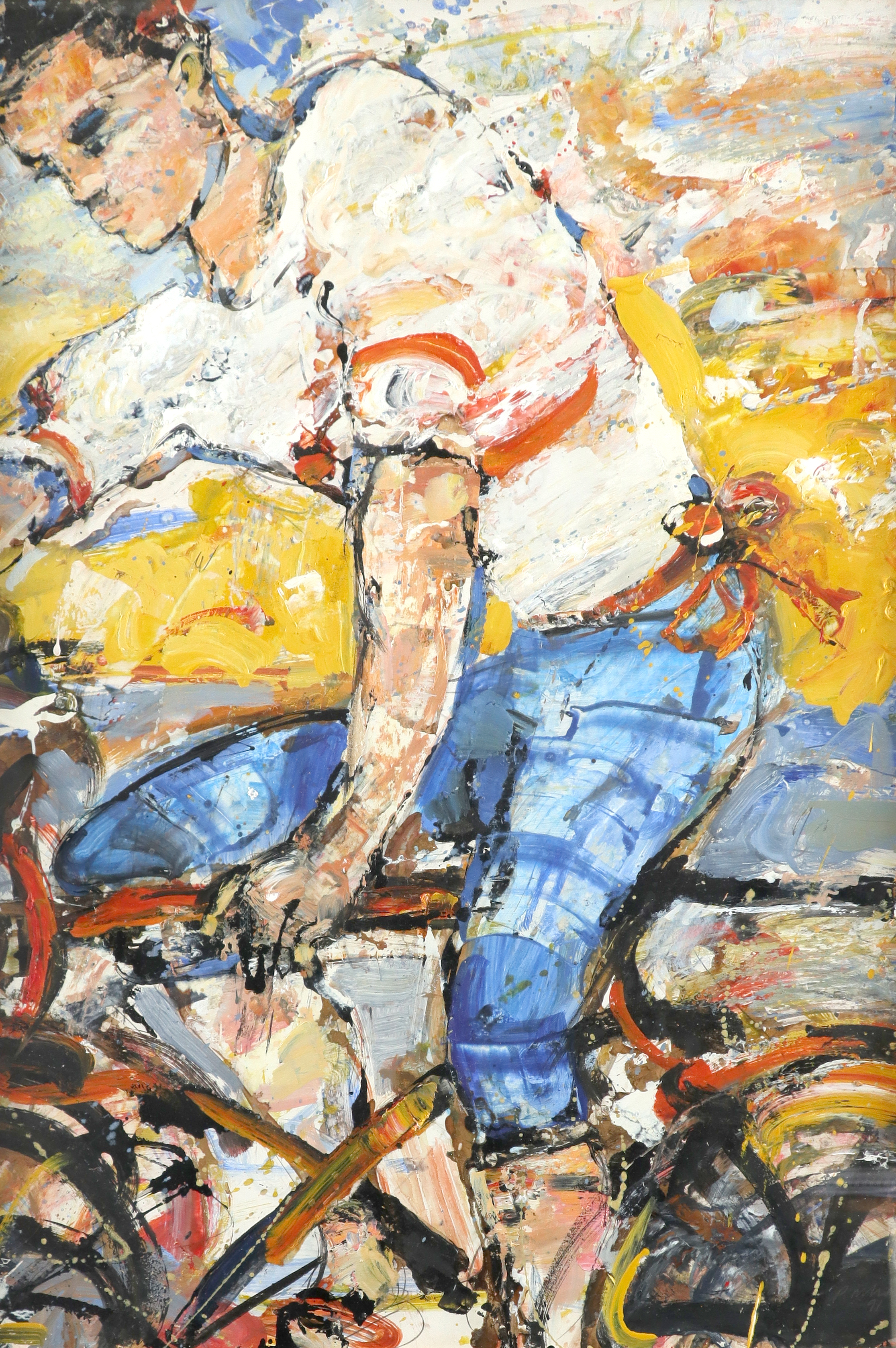 ‡Peter McLaren (Scottish b.1964) Figure in a hot landscape Signed indistinctly and dated PM**/91 (