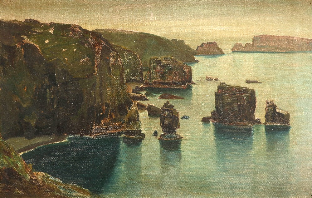 ‡Arthur Spooner (1873-1962) West coast of Sark showing Les Autelets Indistinctly signed (lower left)