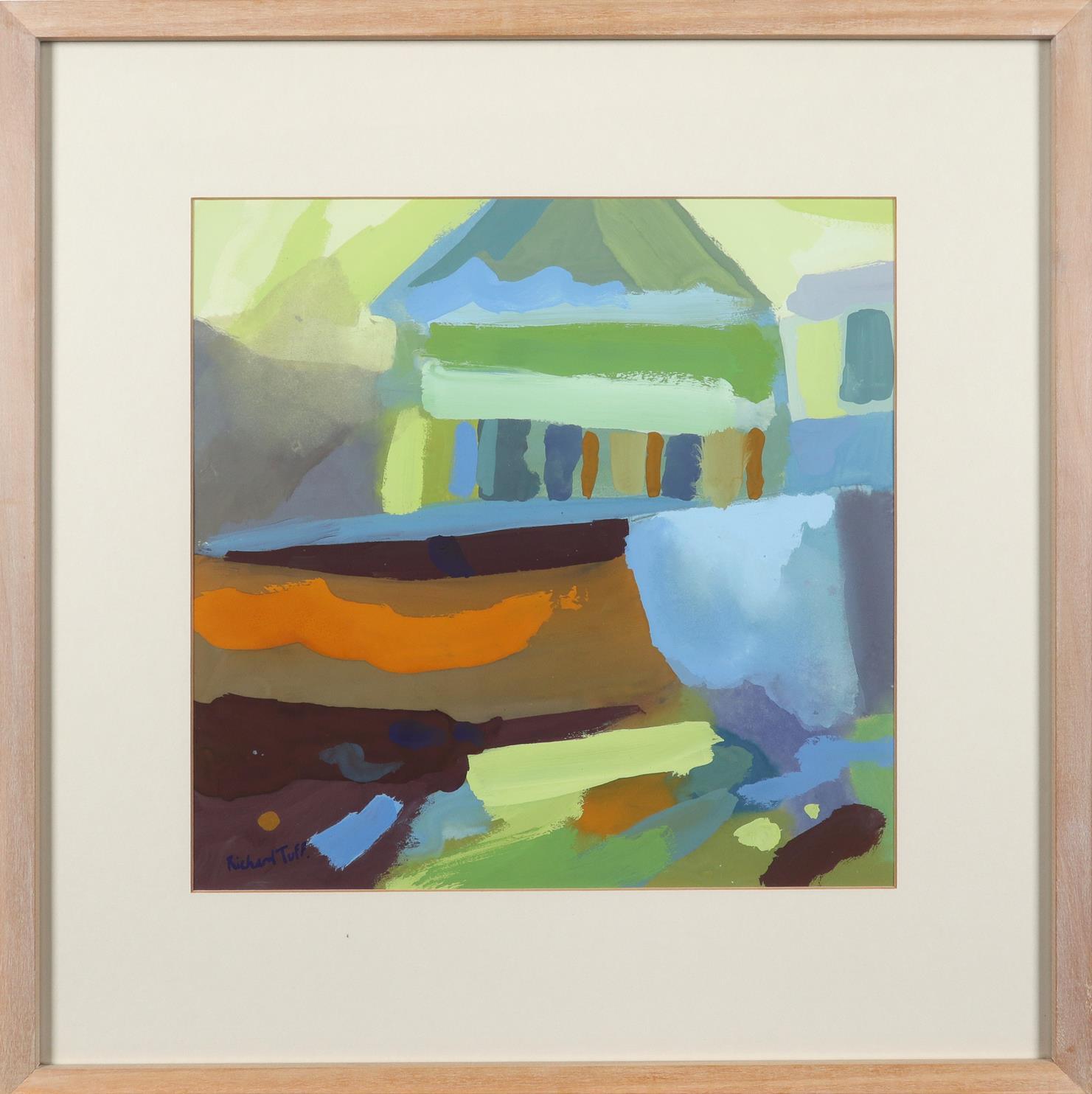 ‡Richard Tuff (b.1965) Abstract landscape Signed Richard Tuff. (lower left) Gouache 30 x 30cm - Image 2 of 3