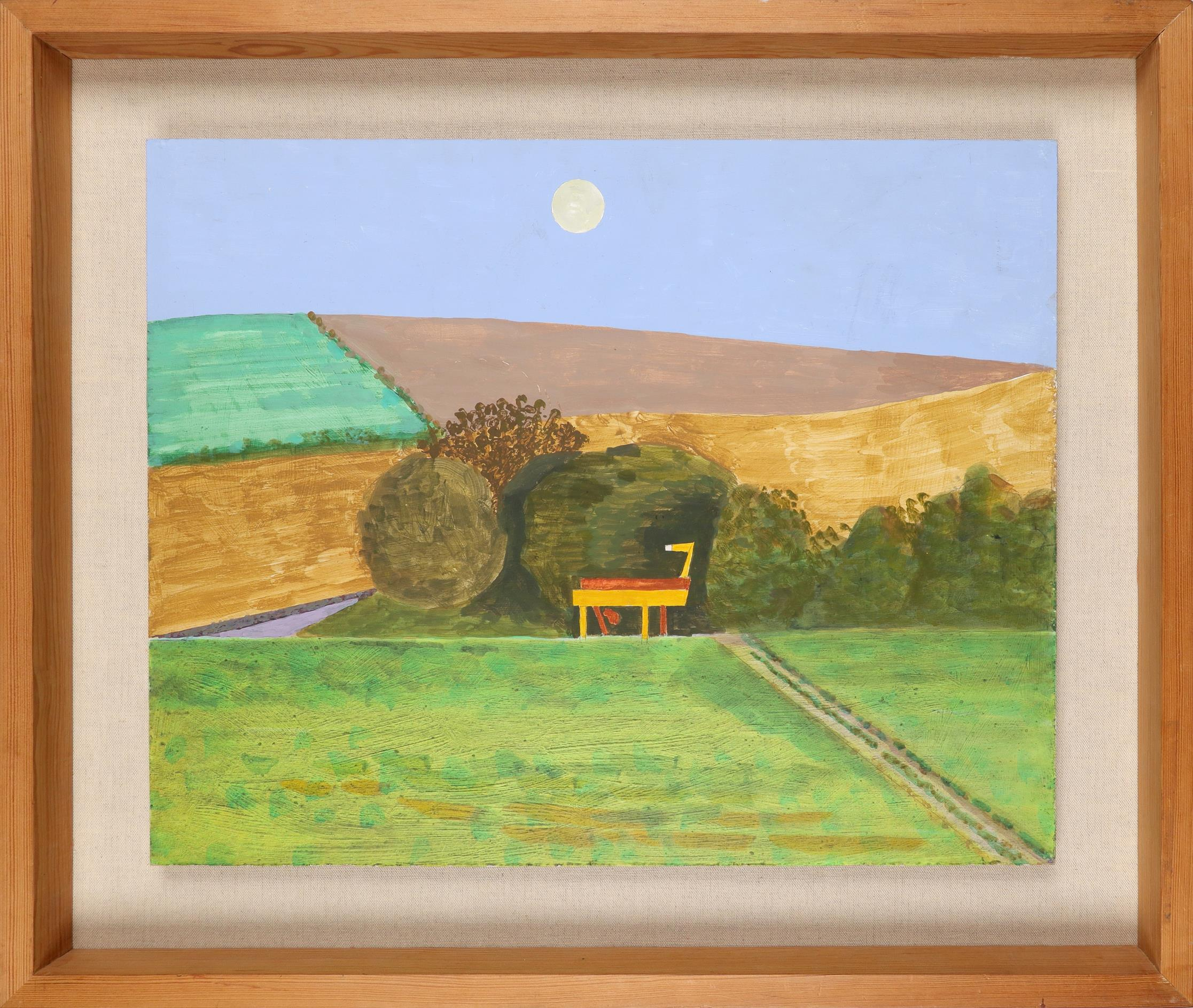 ‡Kenneth Rowntree (1915-1997) Landscape with threshing machine Oil on board 40.3 x 50.3cm - Image 2 of 3