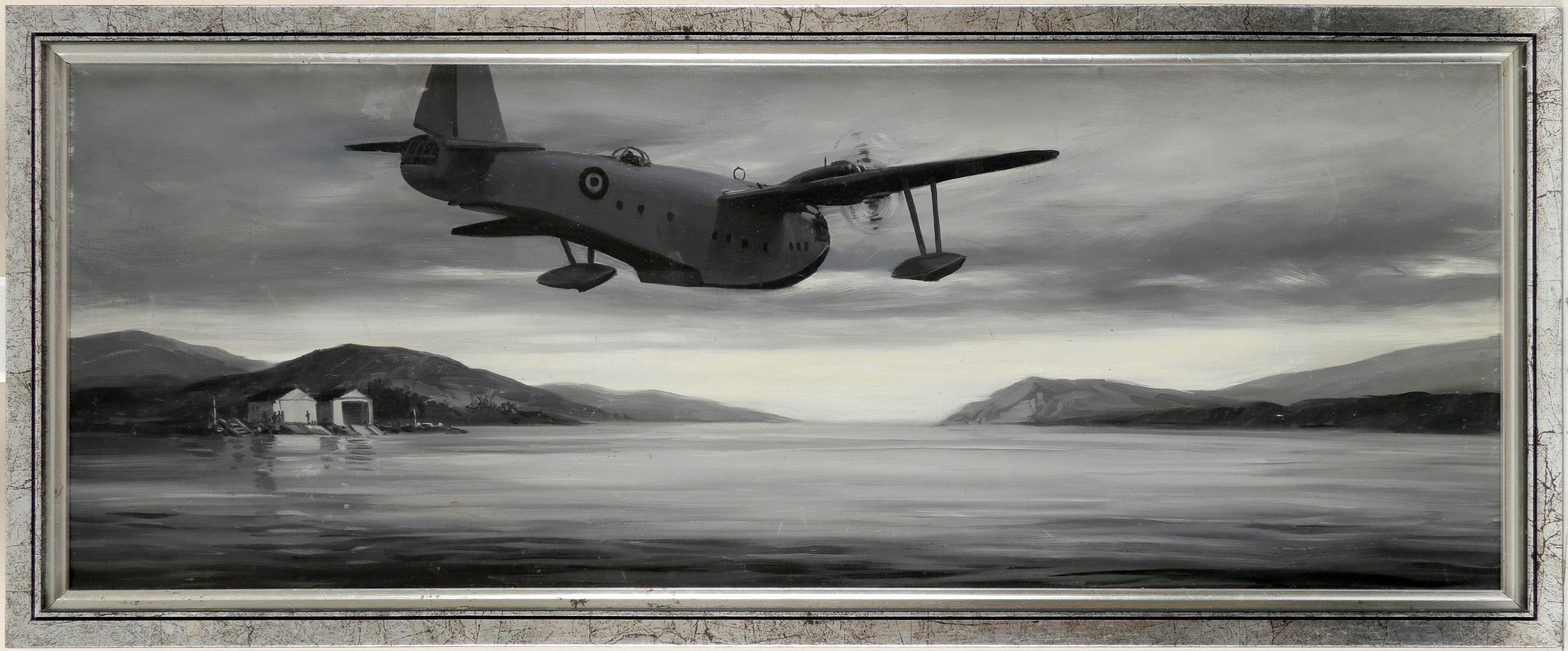 M. Dawson (British 20th Century) British Sea Plane Oil on canvasboard 28 x 75cm Provenance: Frost - Image 2 of 3