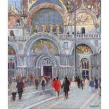 ‡Tony Brummell Smith (b.1949) The Basilica, St Mark's Square I Signed Brummell Smith (lower left)