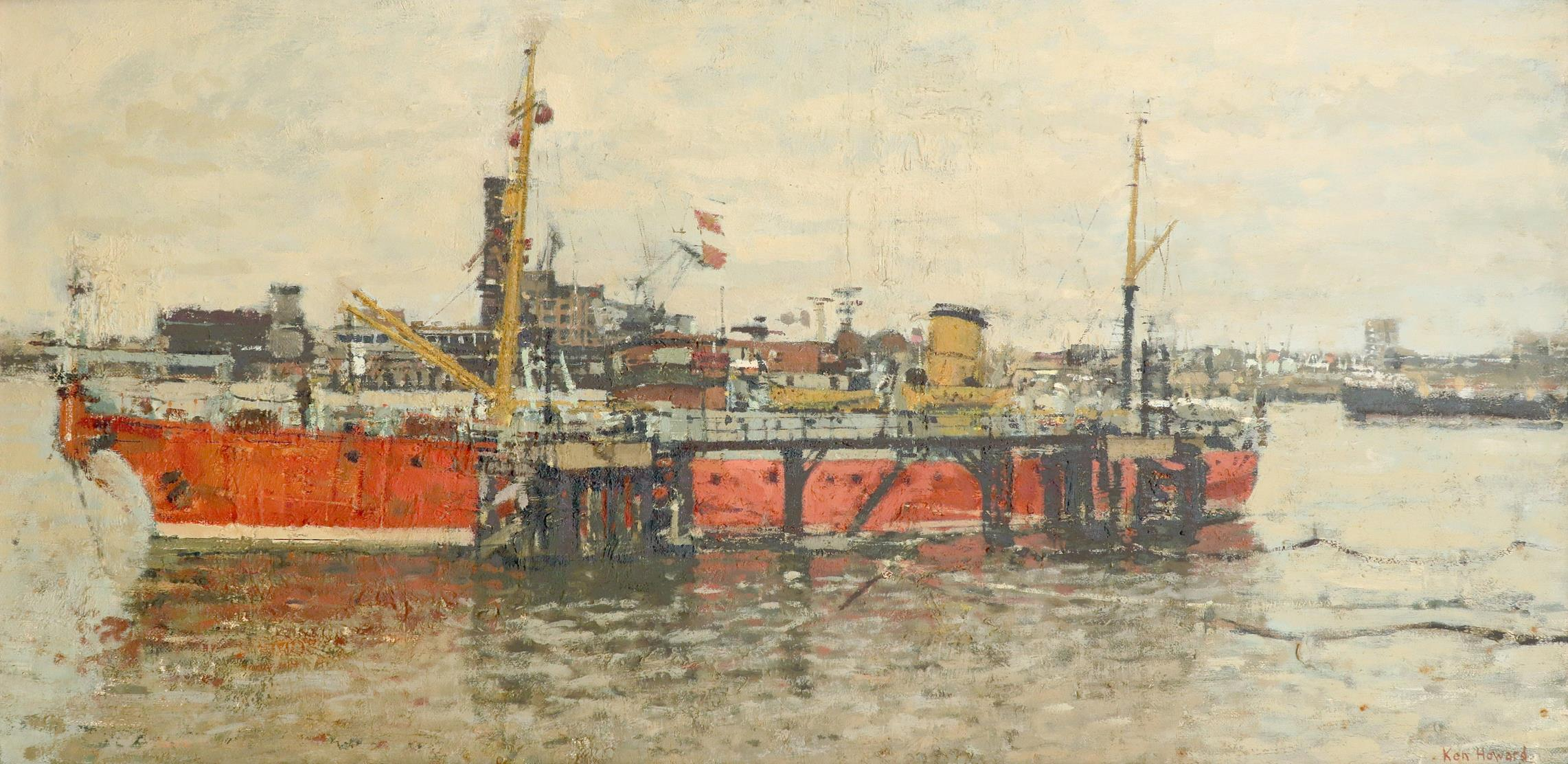 ‡Ken Howard OBE, RA (b.1932) The cable ship Iris moored at Greenwich Signed Ken Howard (lower right)