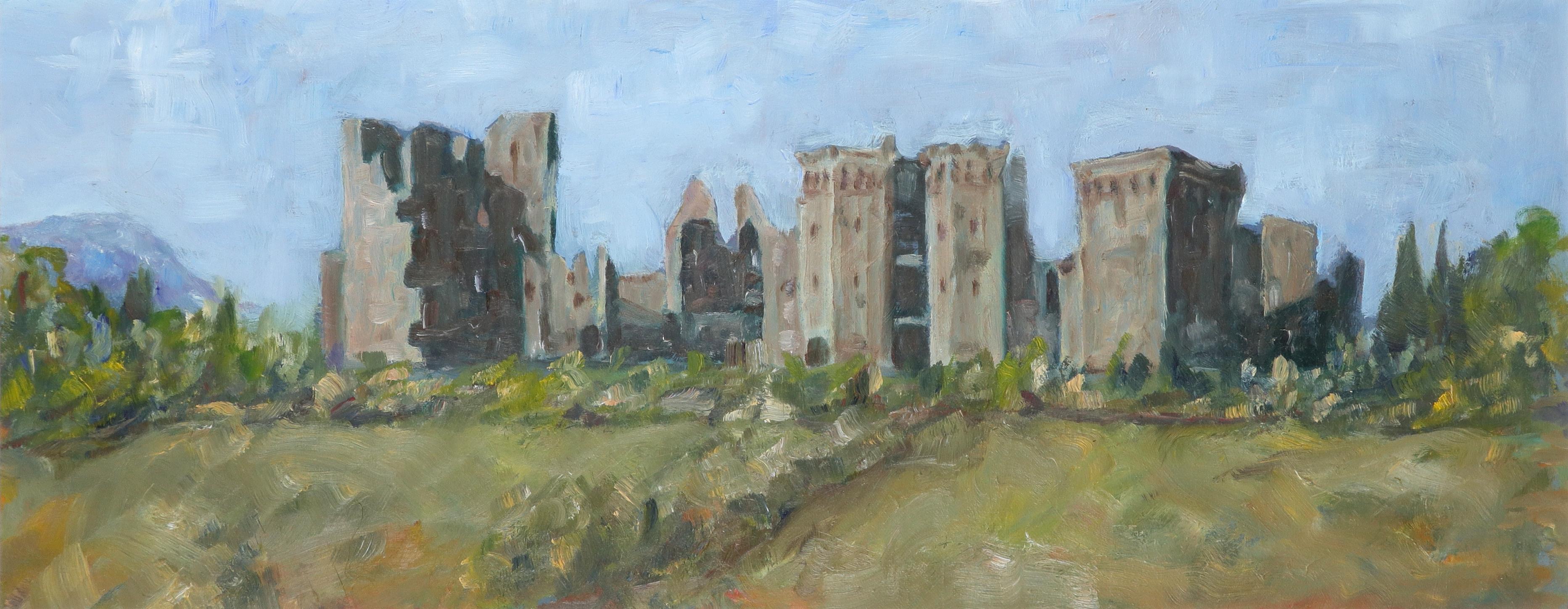 ‡Michael Clark (Contemporary) Raglan Castle, Monmouthshire Oil on card 22 x 57cm Unframed