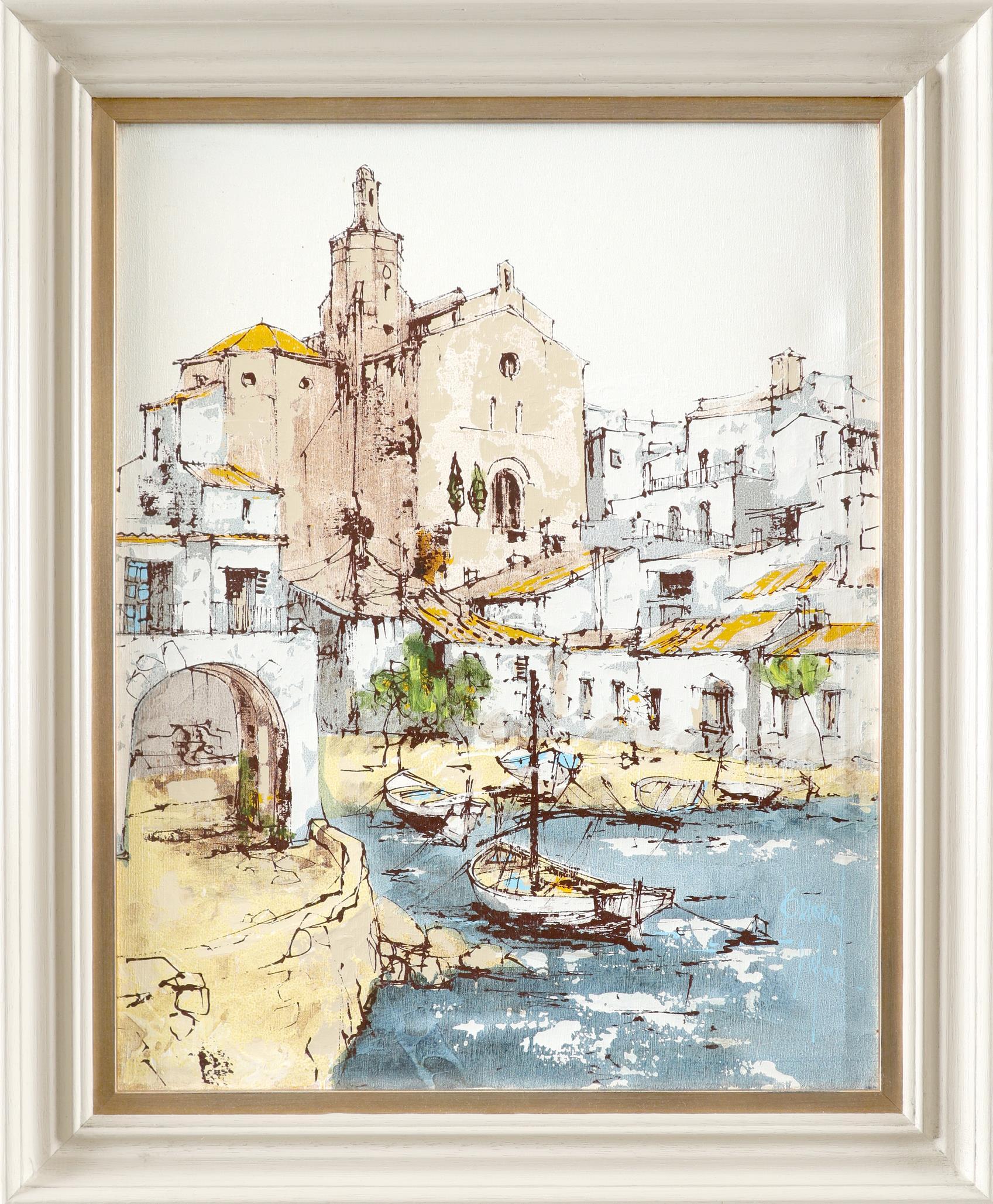 ‡Bernard Dufour (French 1922-2016) Young women boating; Young women in an alleyway Saint Tropez; A - Image 7 of 12