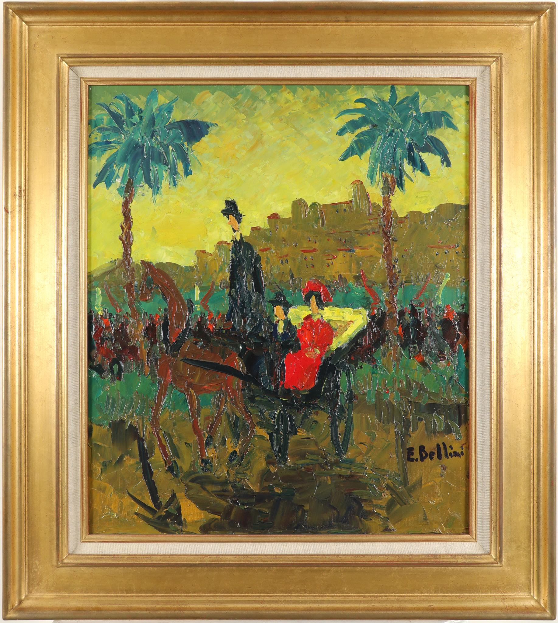 ‡Emmanuel Bellini (French 1904-1989) Calèche à Cannes Signed E.Bellini (lower right), and signed and - Image 2 of 3