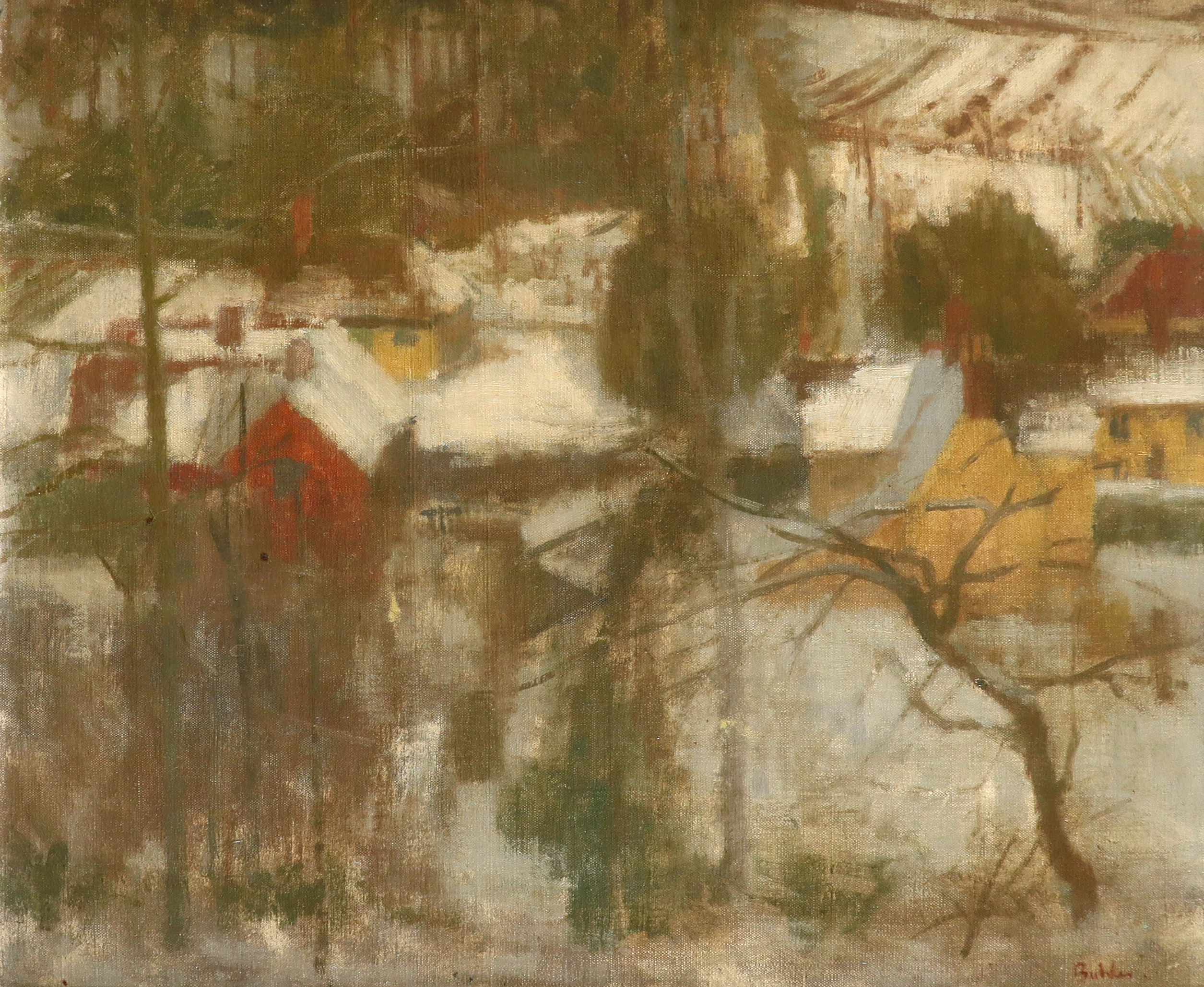 ‡Robert Buhler RA (1916-1989) Snow, Borden Wood Signed Buhler. (lower right) Oil on canvas laid down