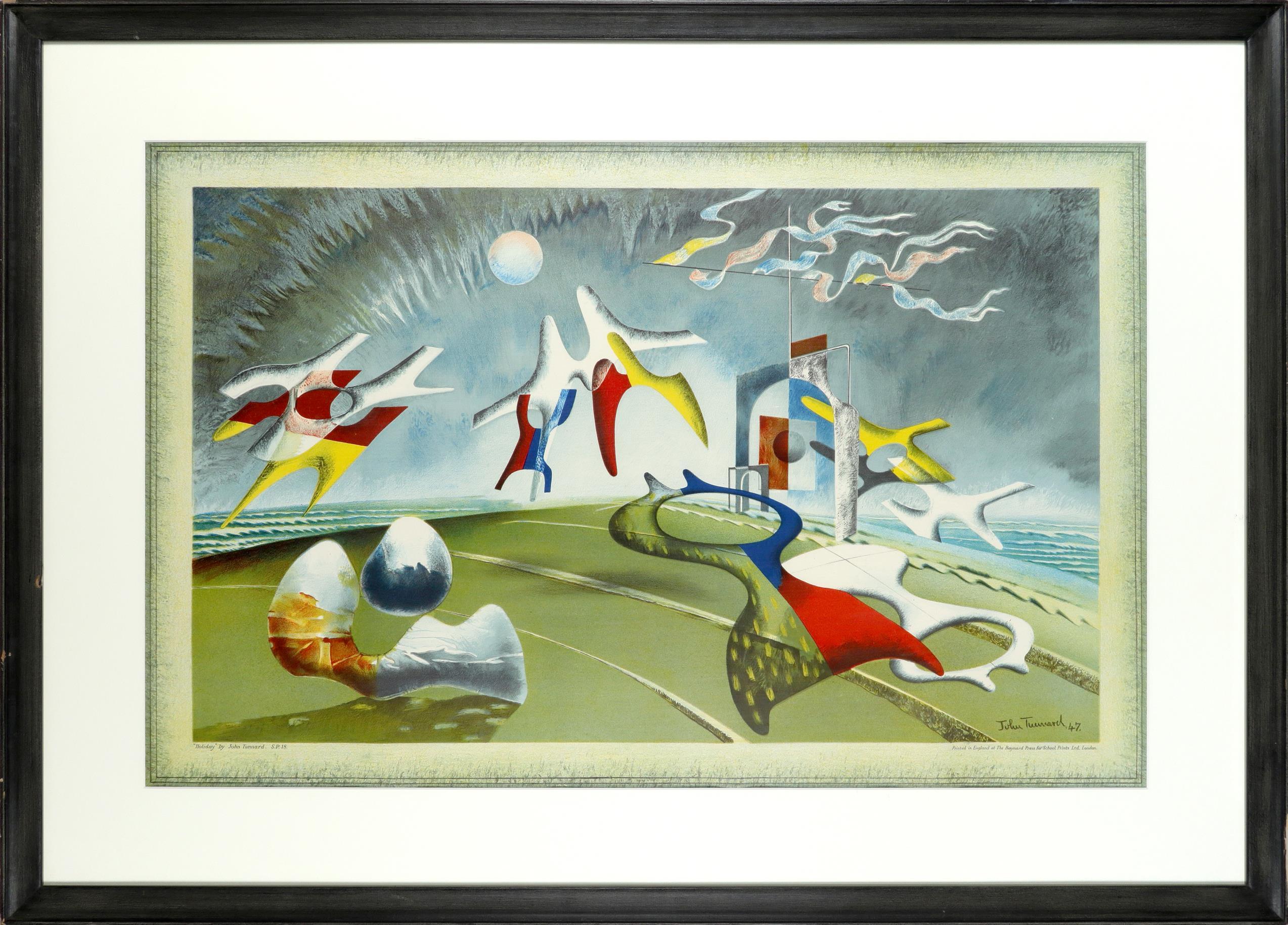 ‡John Tunnard ARA (1900-1971) Holiday Coloured lithograph, 1974, printed at The Baynard Press for - Image 2 of 3