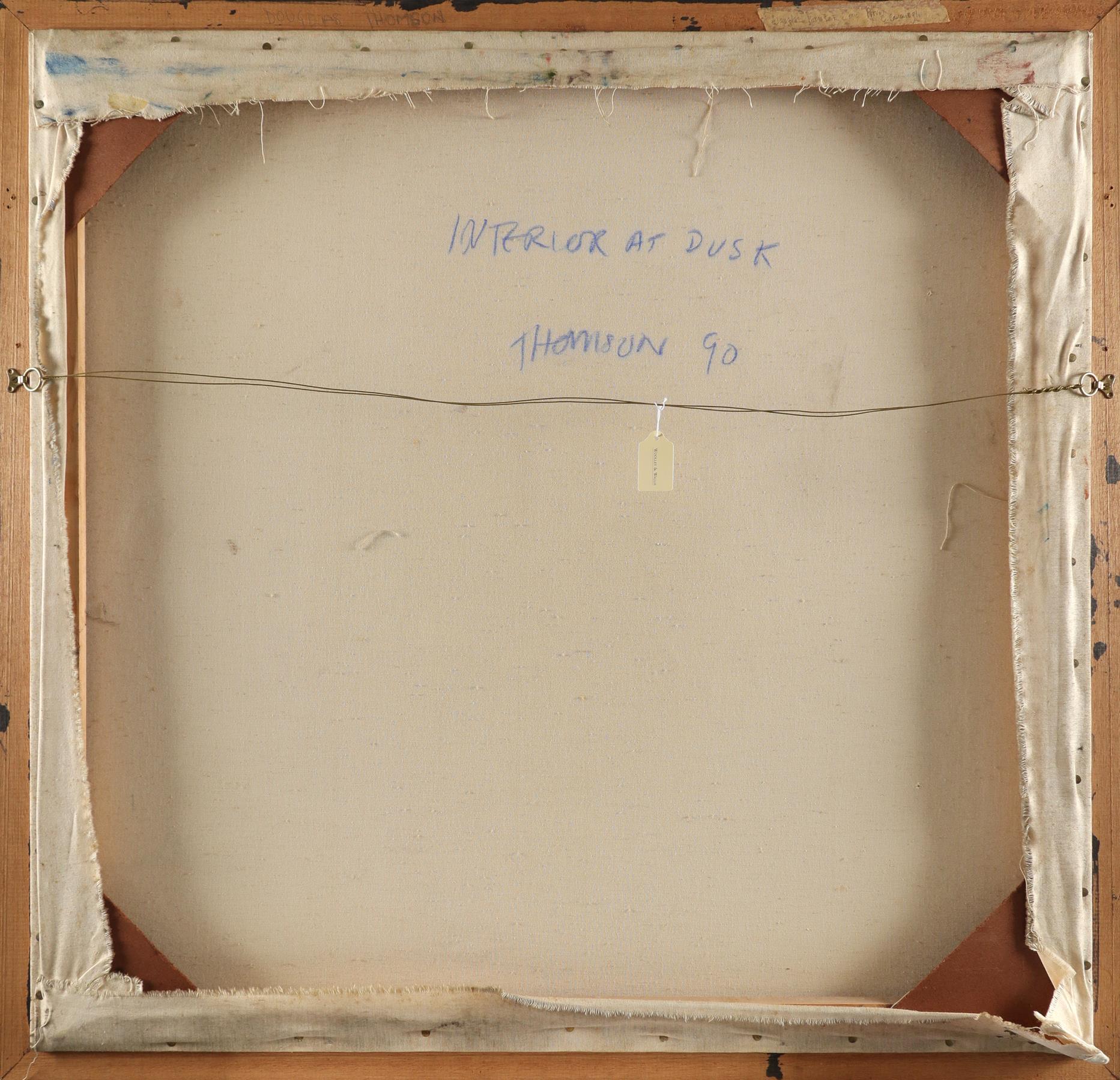 ‡Douglas Thomson (Scottish b.1955) Interior at Dusk Signed THOMSON (lower right), and signed, - Image 3 of 3