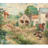 ‡Margaret Fisher Prout (1875-1963) Farmyard scene with pigs a horse and chickens Inscribed