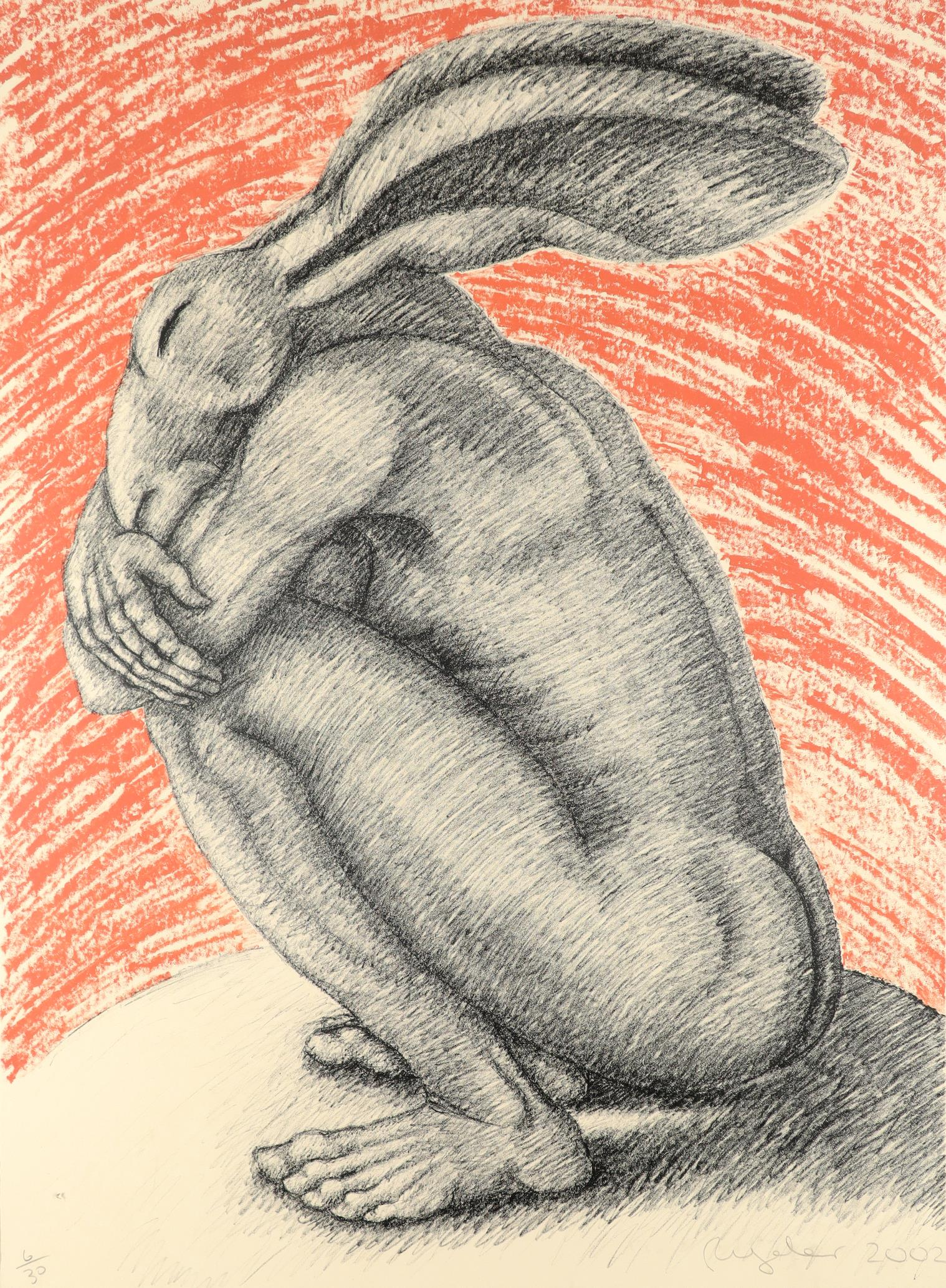 ‡Sophie Ryder (b.1963) Crouching lady-hare Signed, dated and numbered 6/30 Ryder 2002 (in pencil)