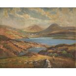 William F. Burchell (act. 1909-1937) A Scottish Loch Signed W F Burchell (lower right) Oil on canvas
