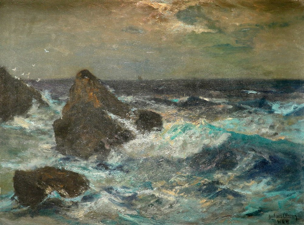 Julius Olsson RA (1864-1942) Waves crashing against the rocks Signed and inscribed Julius Olsson/