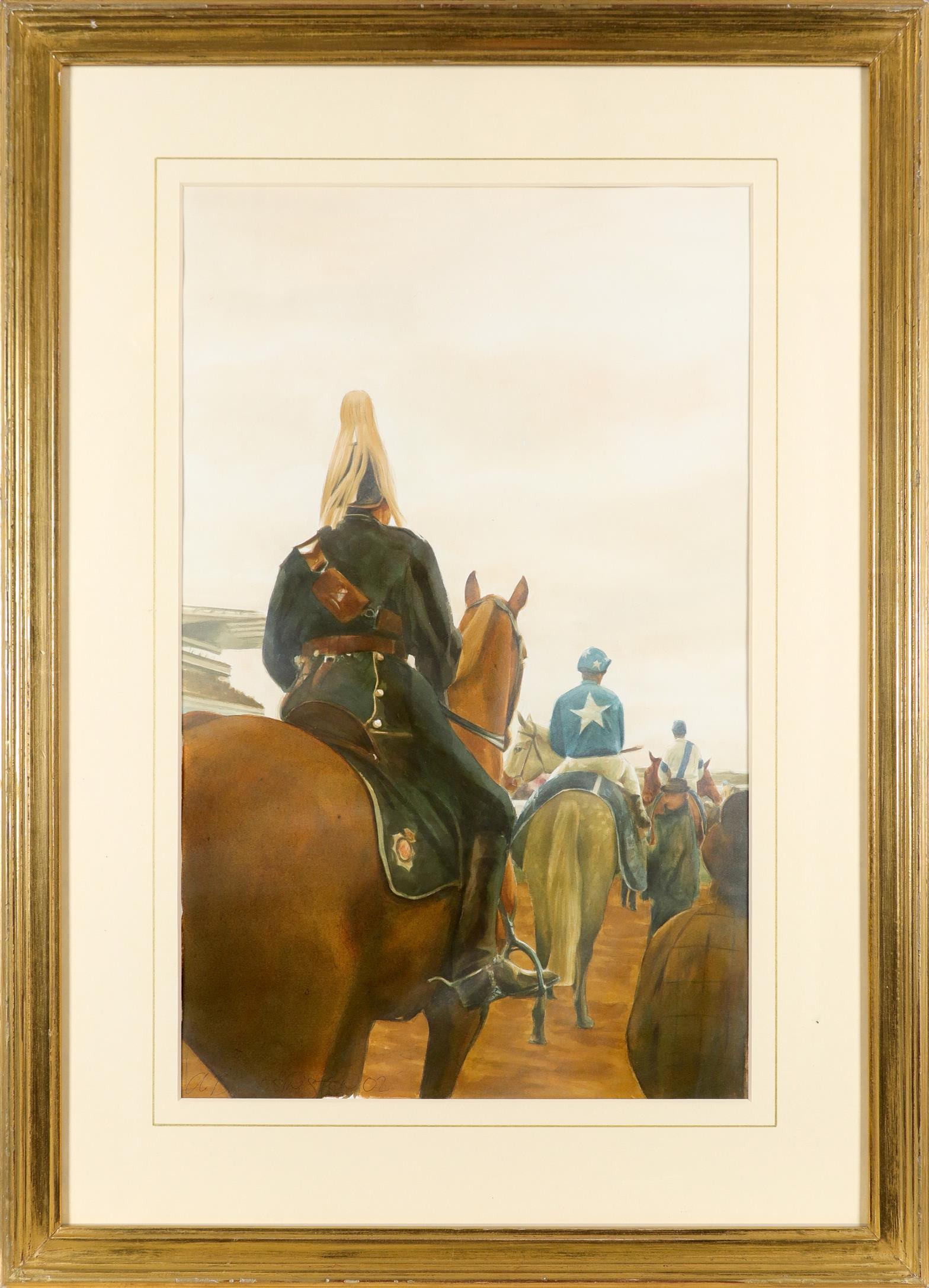 ‡Alan Brassington (Irish b.1959) Before the Grand National Signed and dated a. BRASSINGTON 02 (lower - Image 2 of 3