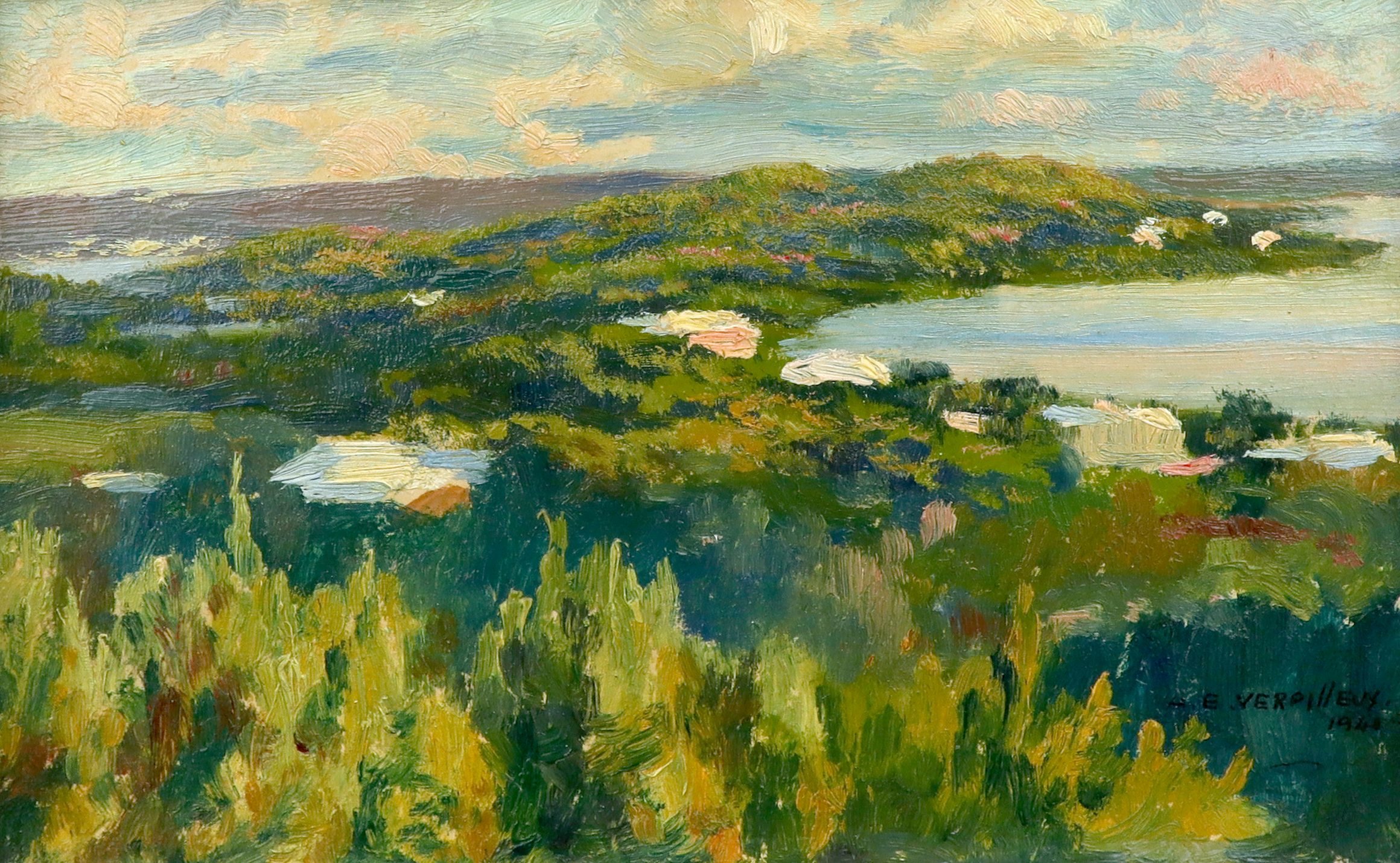 ‡Émile Antoine Verpilleux MBE (Anglo-Belgian 1888-1964) A view of Boss Cove, Spanish Point, Bermuda,