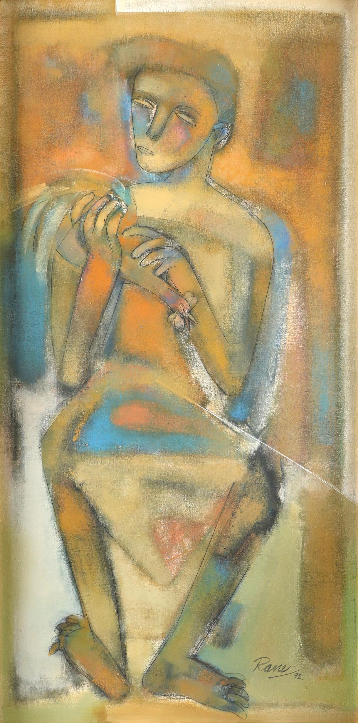 Dattaprasanna Rane (Indian b. 1952) The Man with Cockerel; The Woman A pair, both signed Rane/92 (