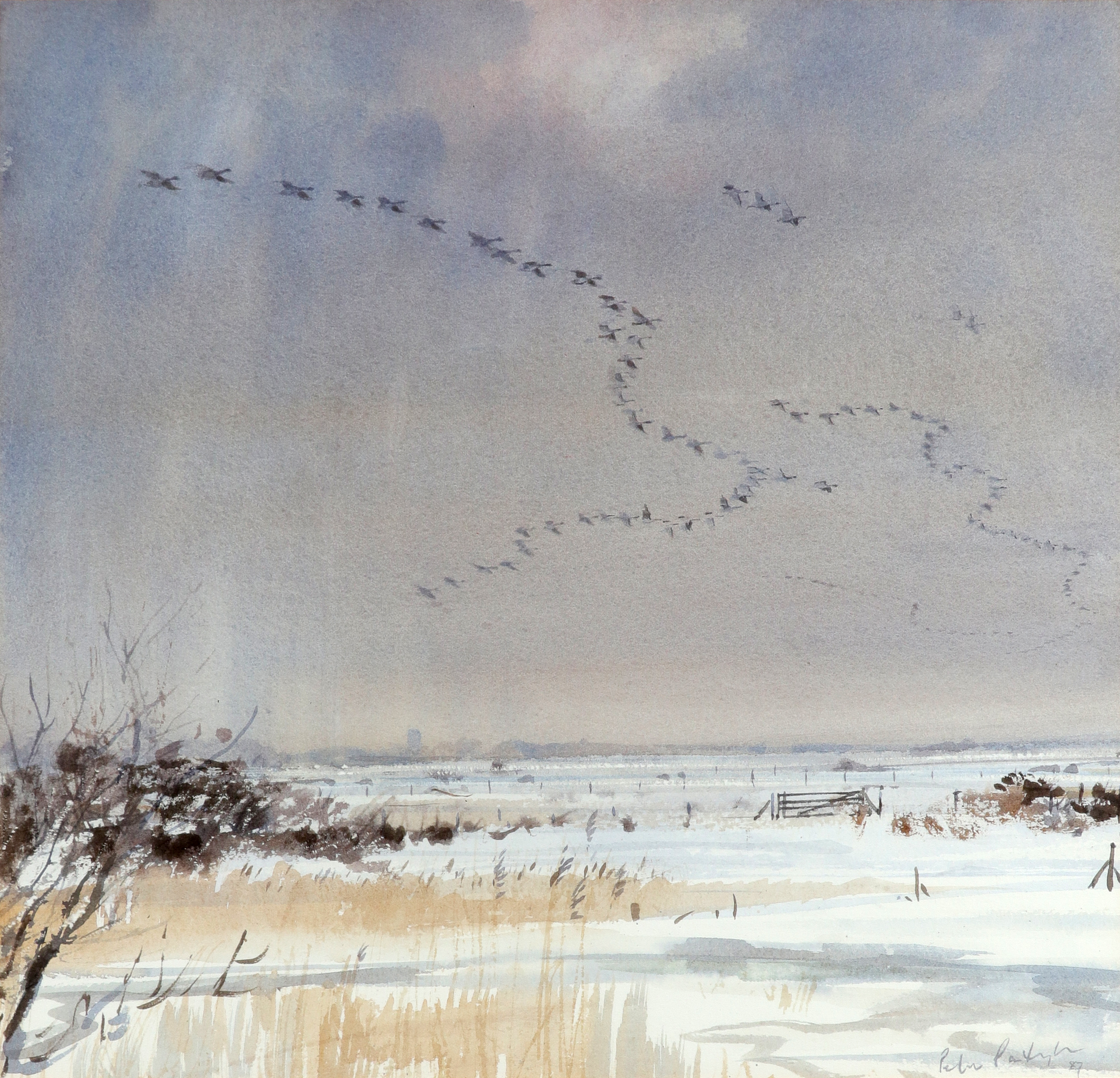 ‡Peter Partington SWLA (b.1941) Geese in flight Signed and dated Peter Partington/87 (lower right)