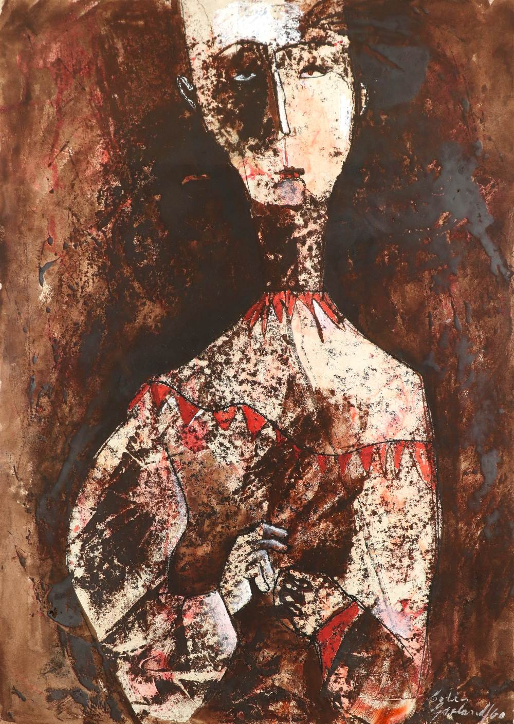Colin Garland (Australian b.1935) Figure with a red collar Signed and dated Colin/Garland/60 (
