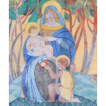 ‡Dorothy K. Thick (20th Century) The Madonna and Child with St John the Baptist Signed with monogram