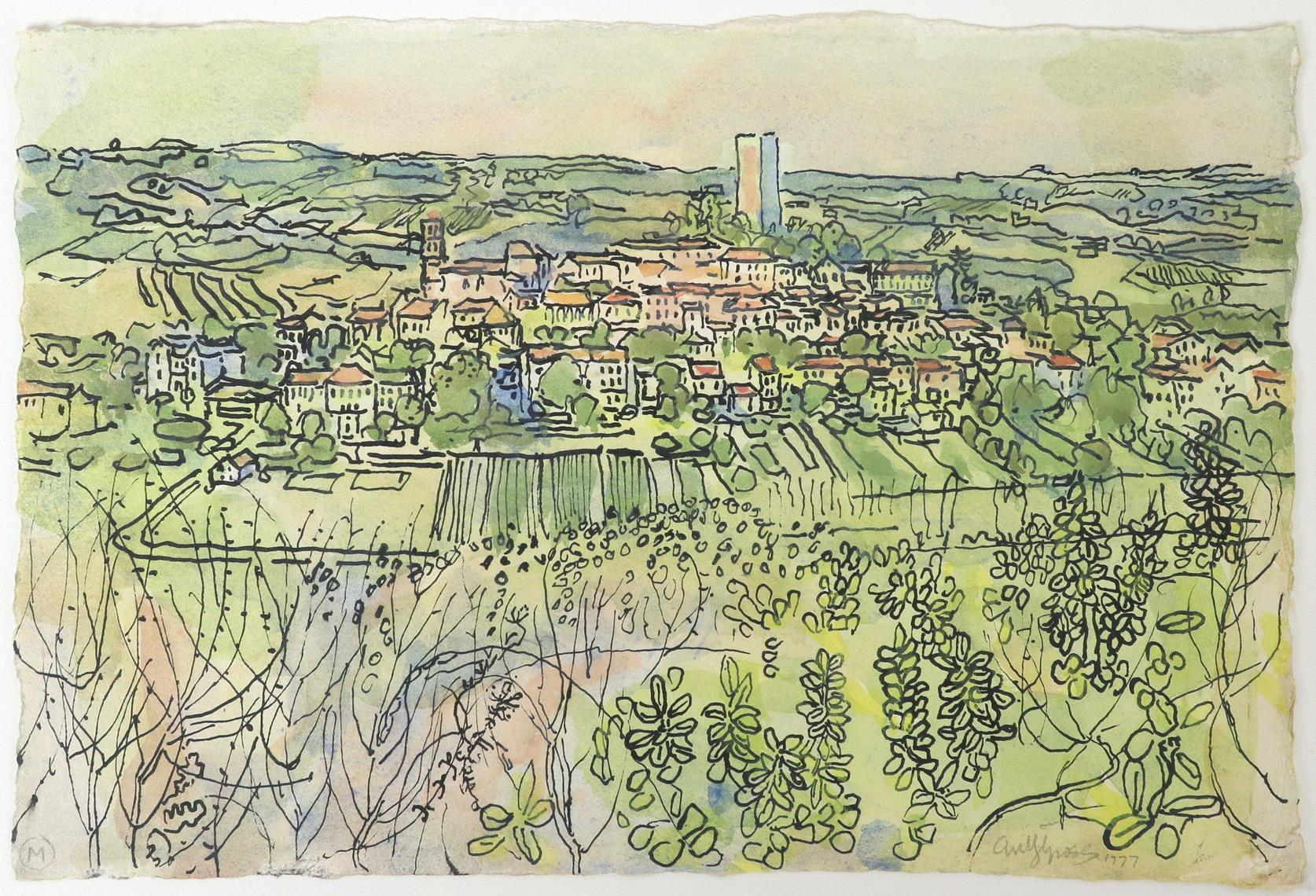 ‡Anthony Gross CBE, RA (1905-1984) A view of Montcuq, France Signed and dated antyGross 1977 ( - Image 2 of 3