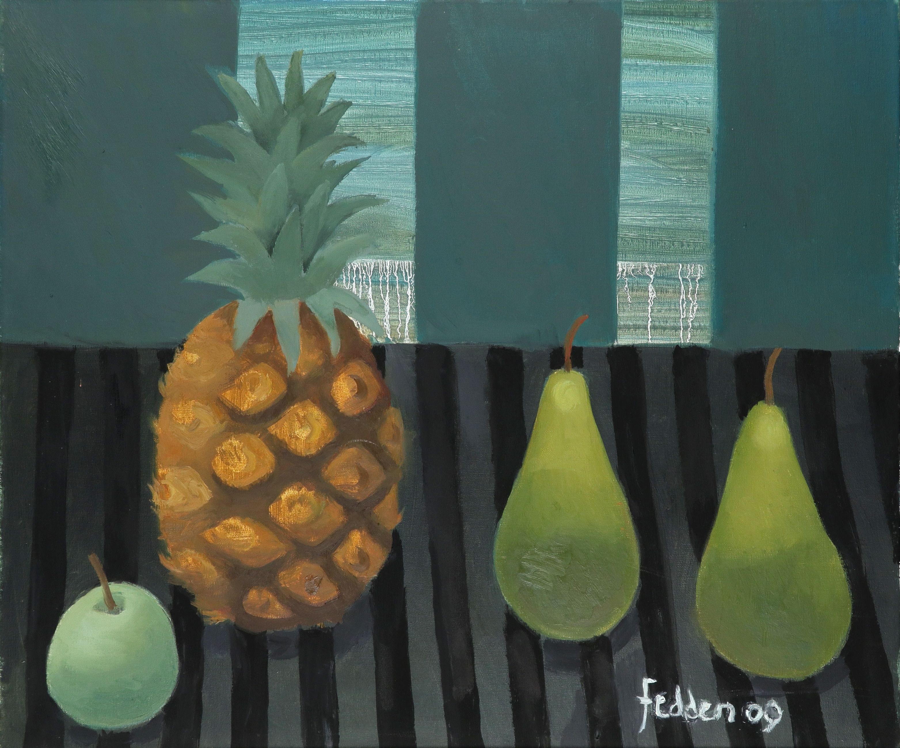‡Mary Fedden OBE, RA, RWA, (1915-2012) Still life with a pineapple, two pears and an apple Signed