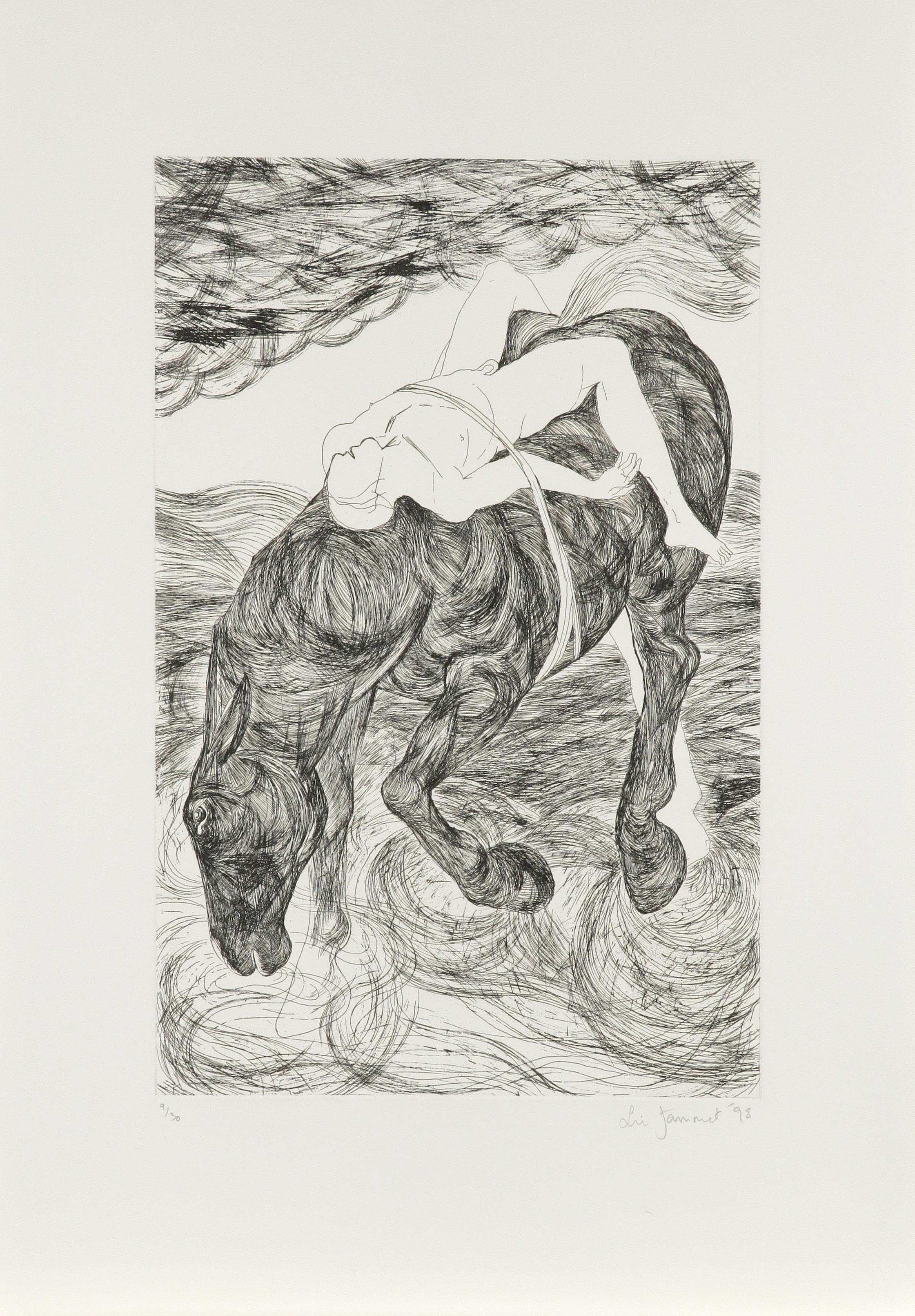 ‡Lin Jammet (1958-2017) Mazeppa Signed, dated and numbered 9/30 Lin Jammet '98 (in pencil to