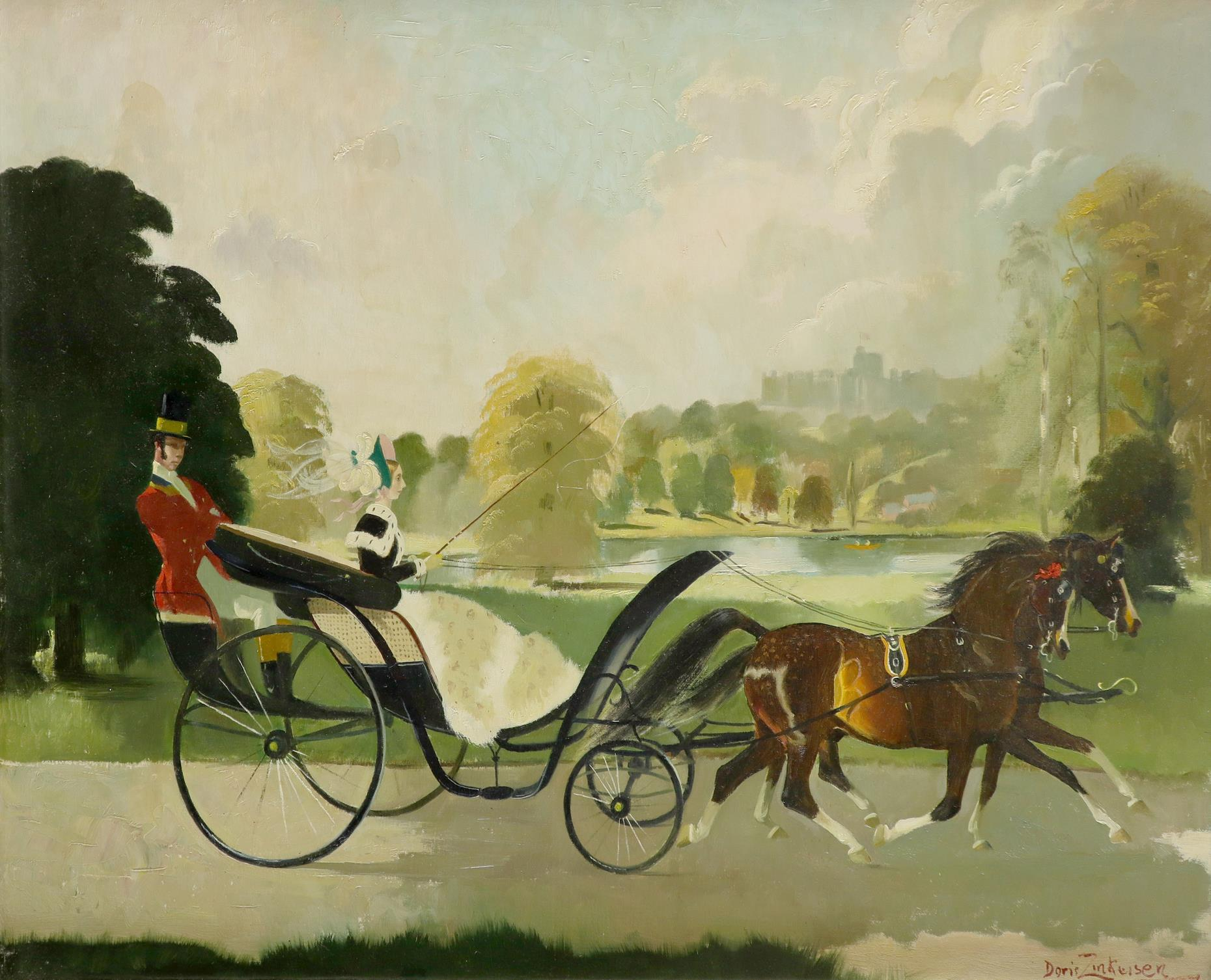 ‡Doris Zinkeisen (Scottish 1898-1991) Riding near Windsor Signed Doris Zinkeisen (lower right) Oil
