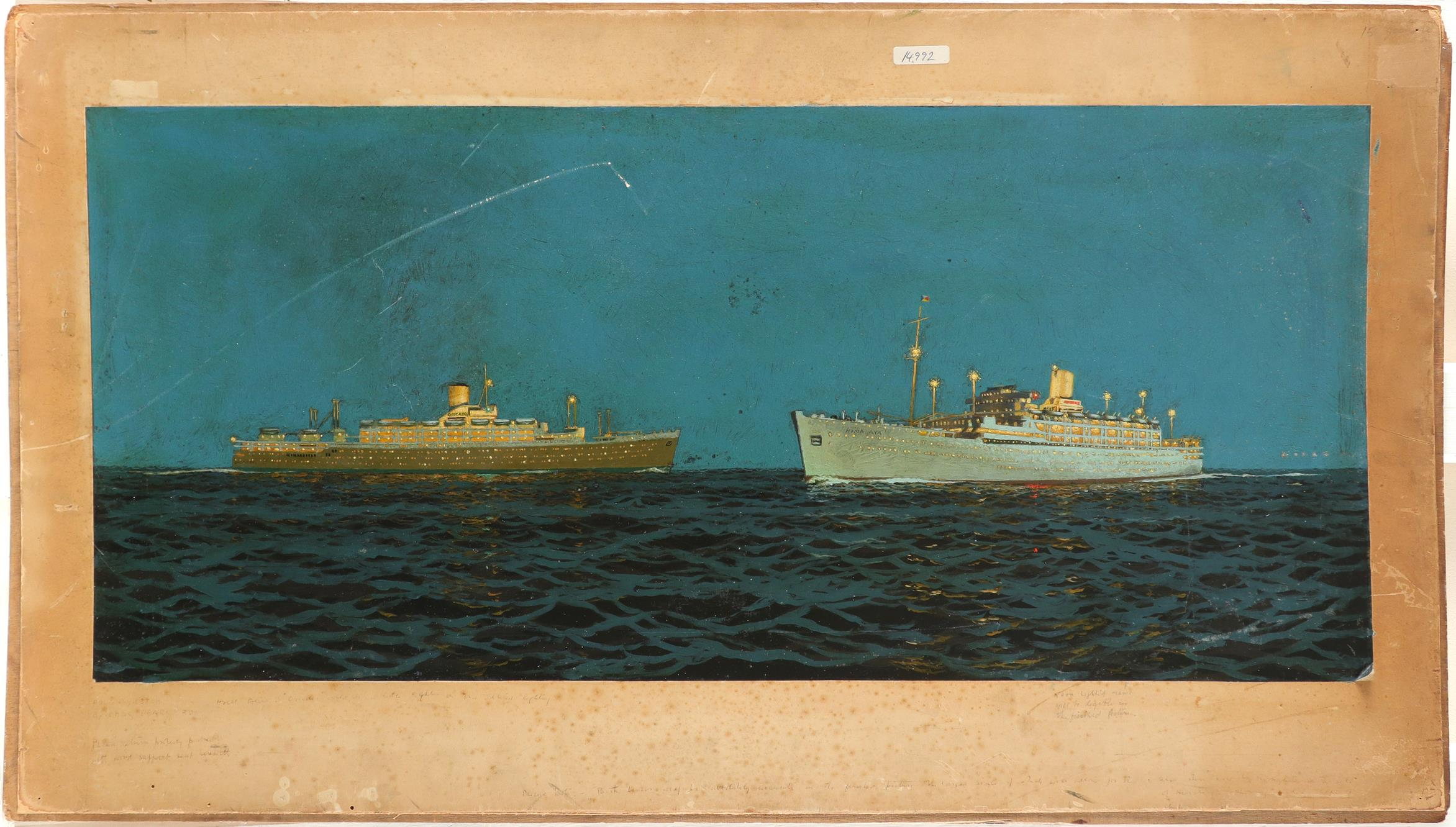 ‡Charles Pears RI, ROI, RSMA (1873-1958) The SS Orcades and the SS Himalaya Signed and inscribed - Image 2 of 3