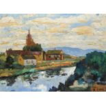 S. Close (20th Century) A village by a river Signed Oil on board 30 x 41cm