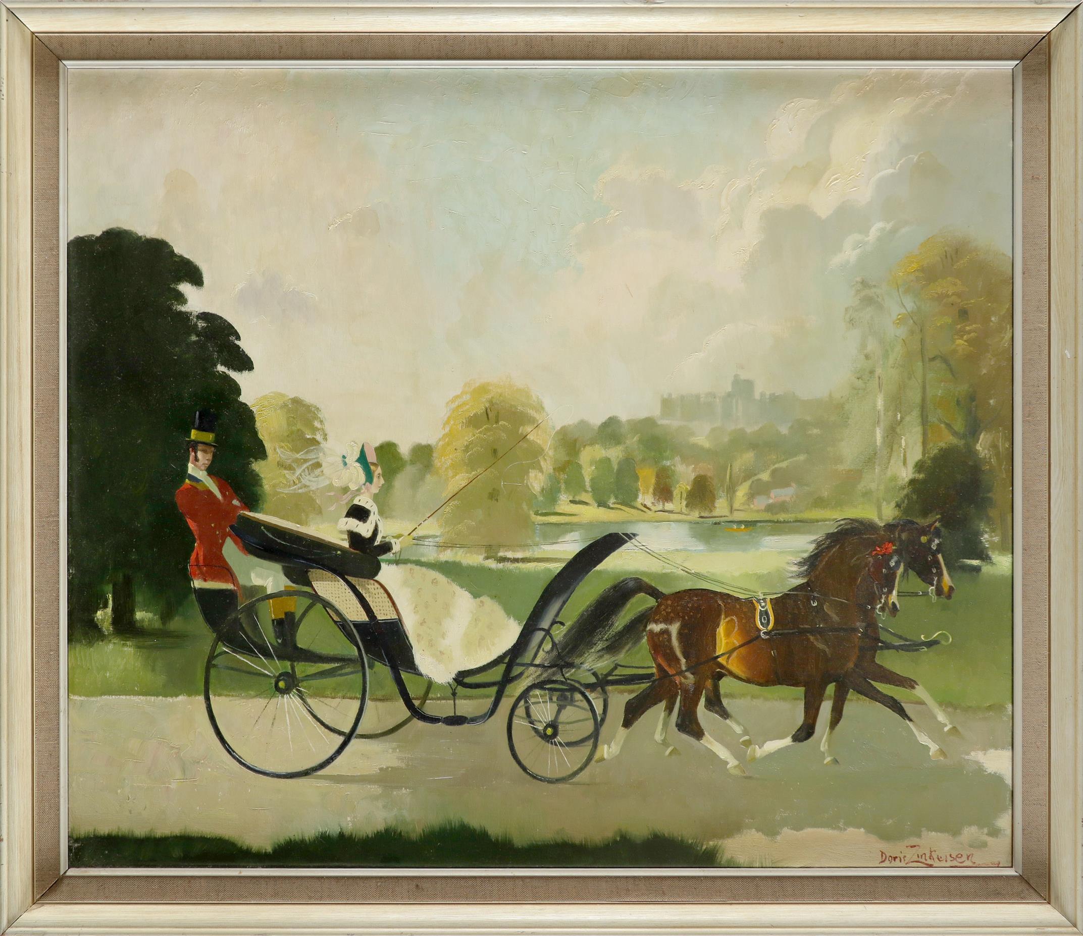 ‡Doris Zinkeisen (Scottish 1898-1991) Riding near Windsor Signed Doris Zinkeisen (lower right) Oil - Image 2 of 3